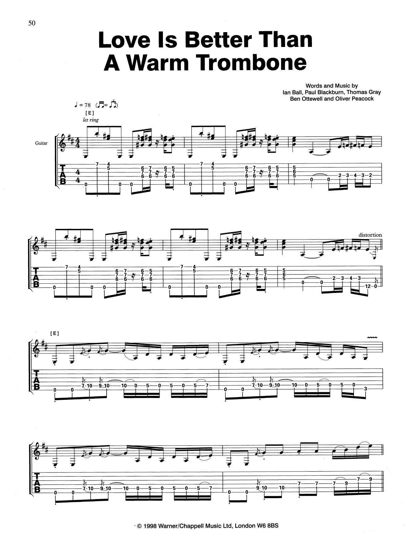 Love Is Better Than A Warm Trombone (Guitar Tab)