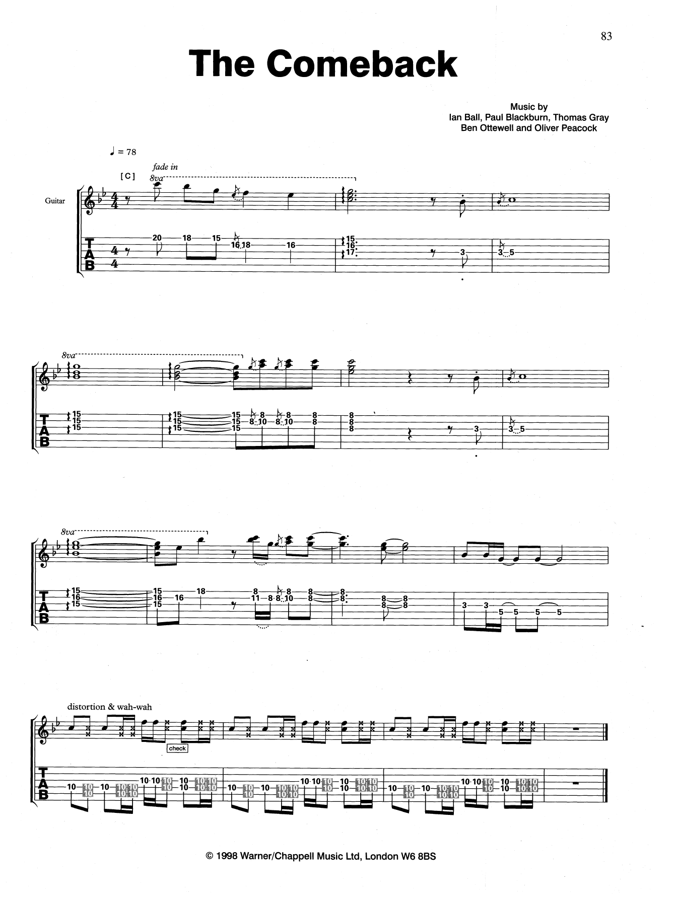 The Comeback Sheet Music
