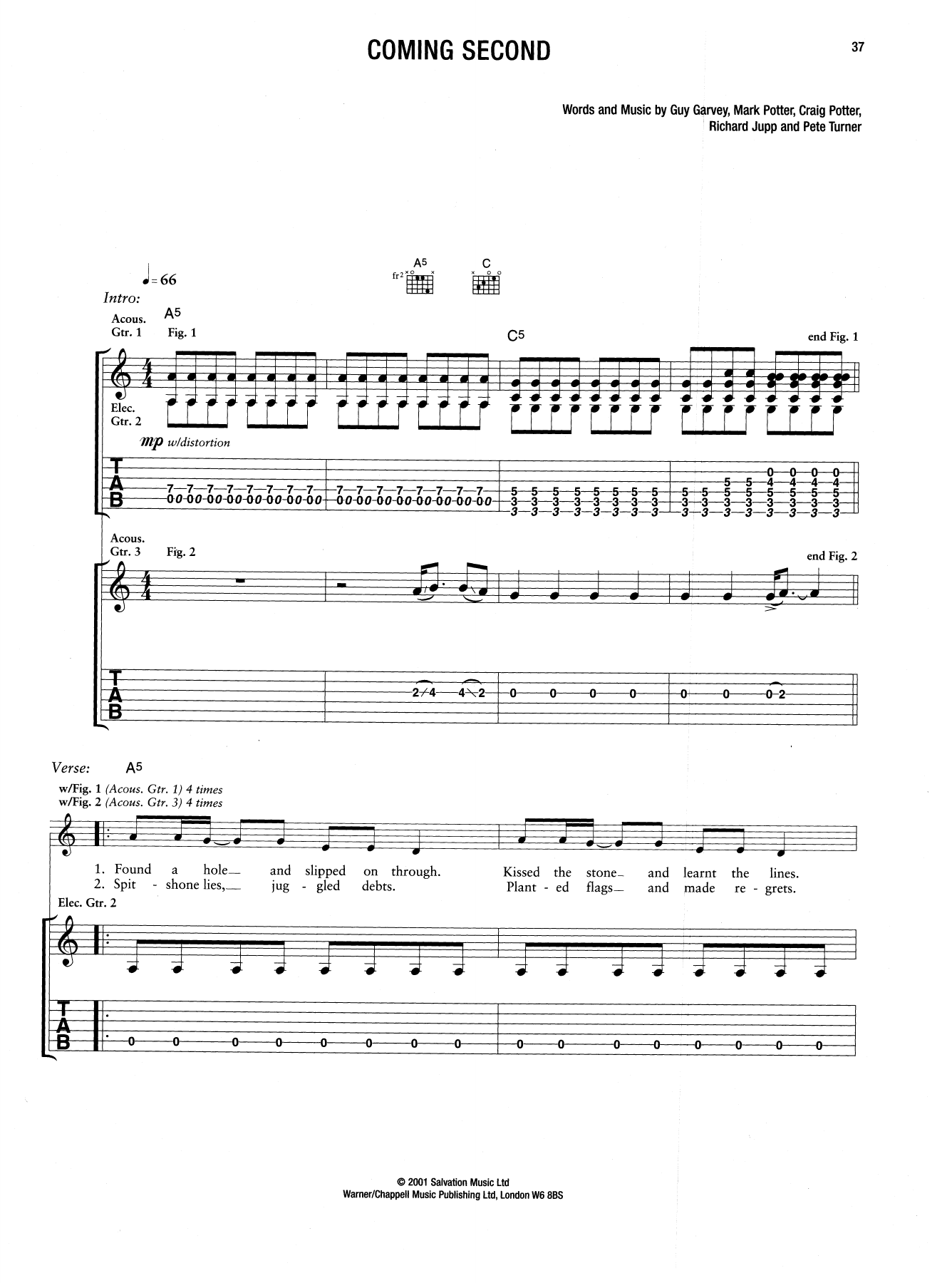 Coming Second (Guitar Tab)