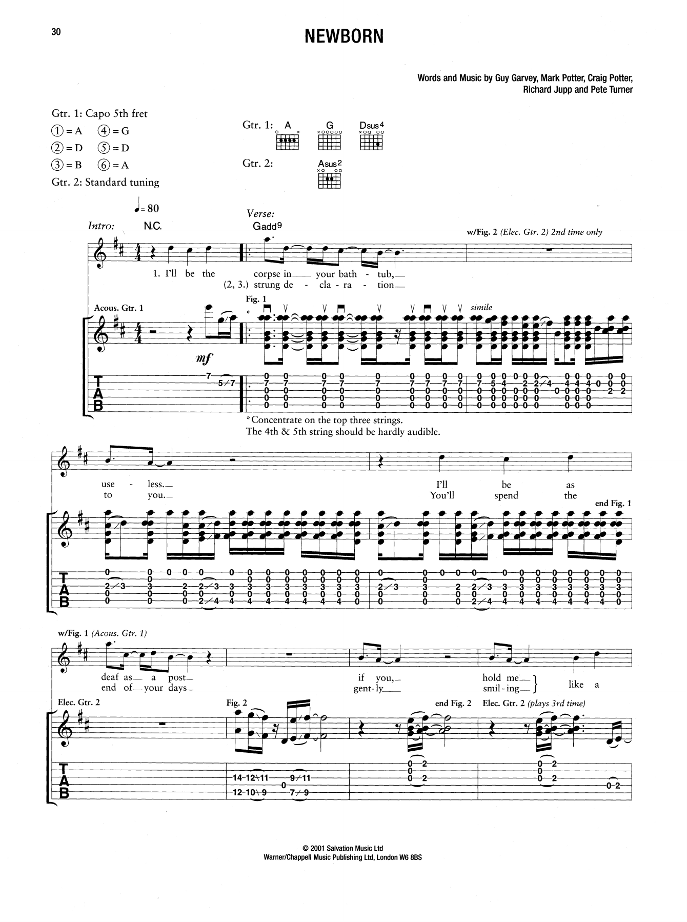 Newborn By Elbow Guitar Tab Digital Sheet Music