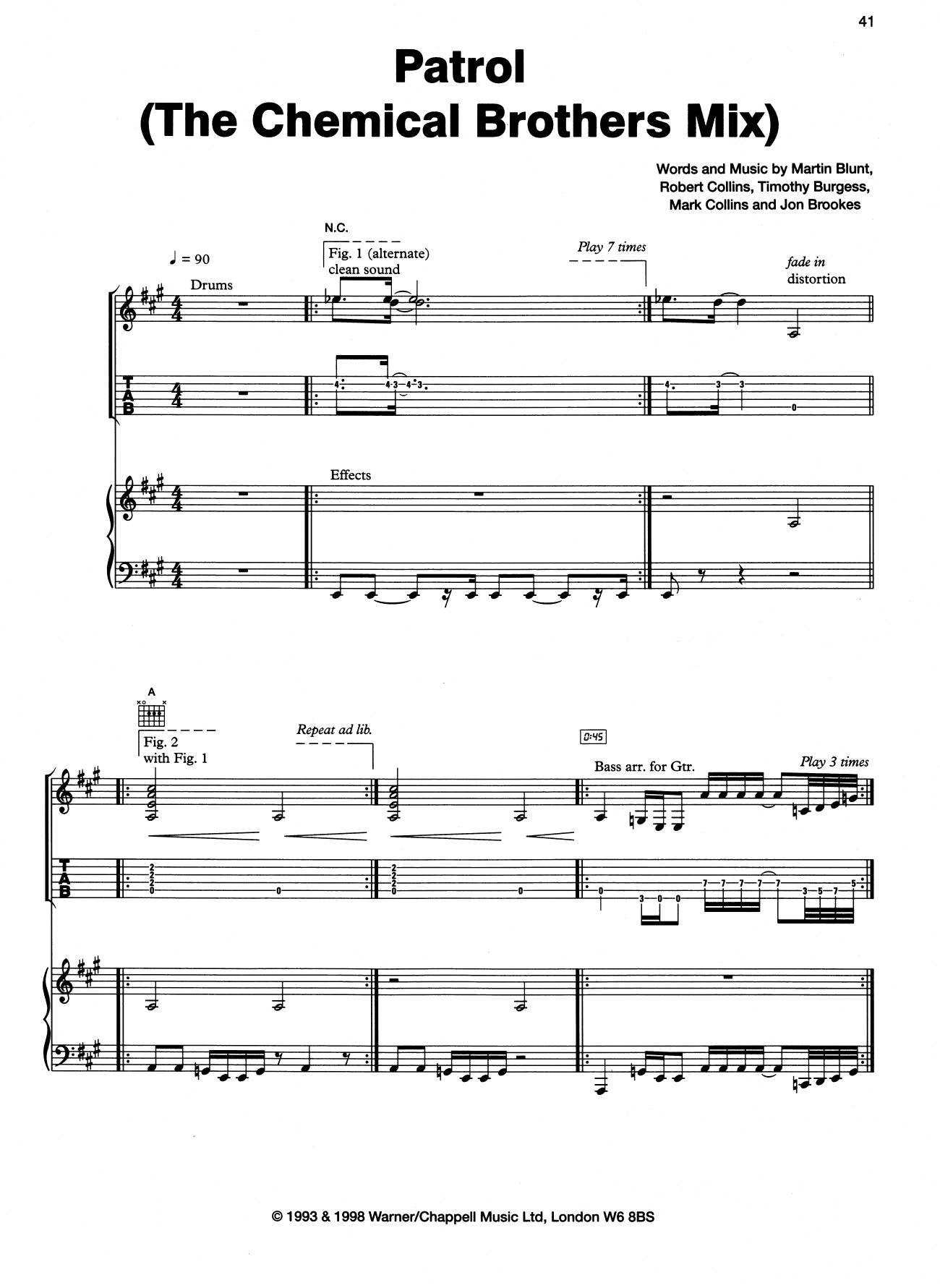 Patrol (The Dust Brothers Mix) Sheet Music