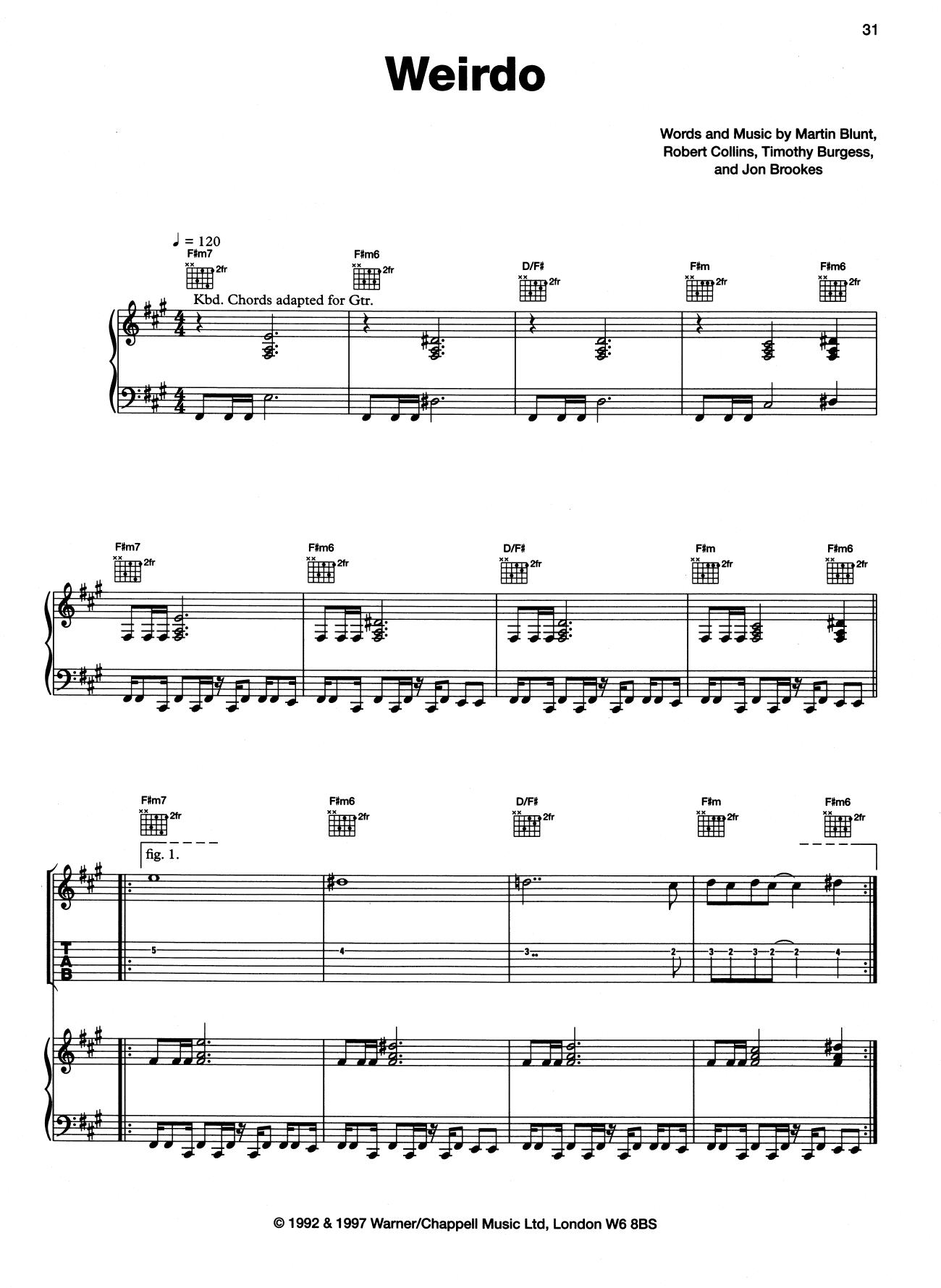 Weirdo (Piano, Vocal & Guitar (Right-Hand Melody))