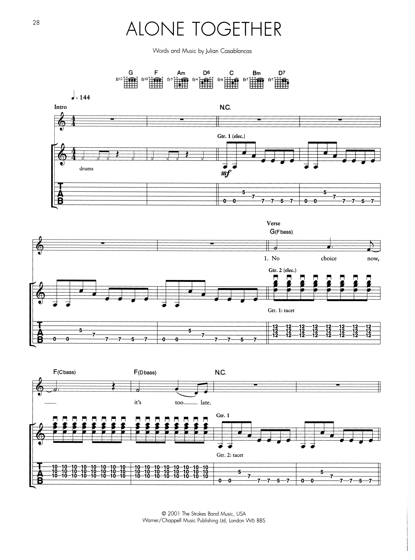 Alone Together (Guitar Tab)