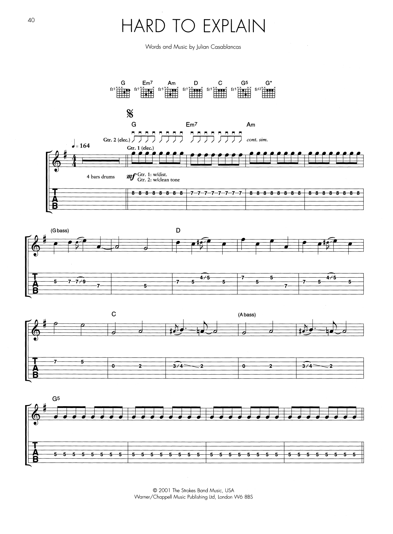 Hard To Explain | The Strokes | Guitar Tab