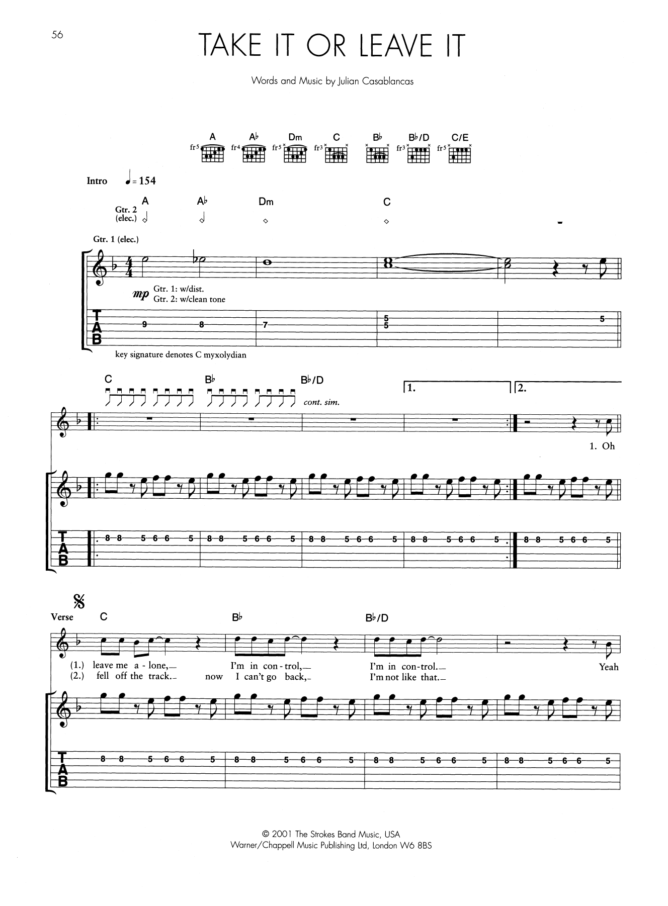 Take It Or Leave It Sheet Music | The Strokes | Guitar Tab