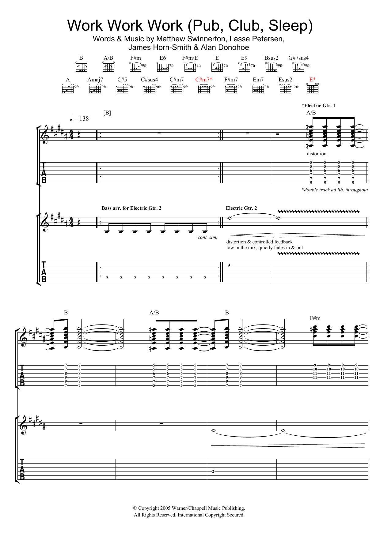 Work Work Work (Pub, Club, Sleep) (Guitar Tab)