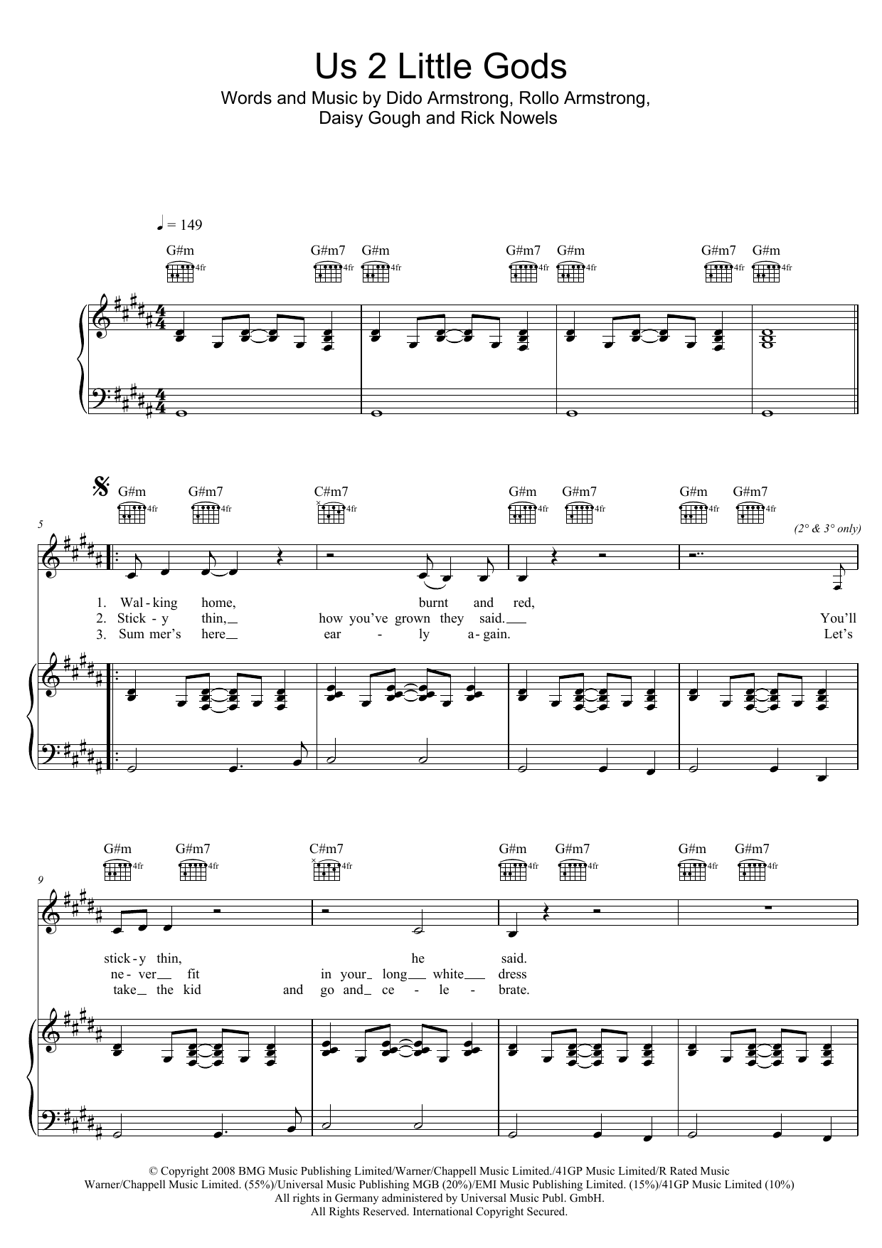 Us 2 Little Gods (Piano, Vocal & Guitar (Right-Hand Melody))