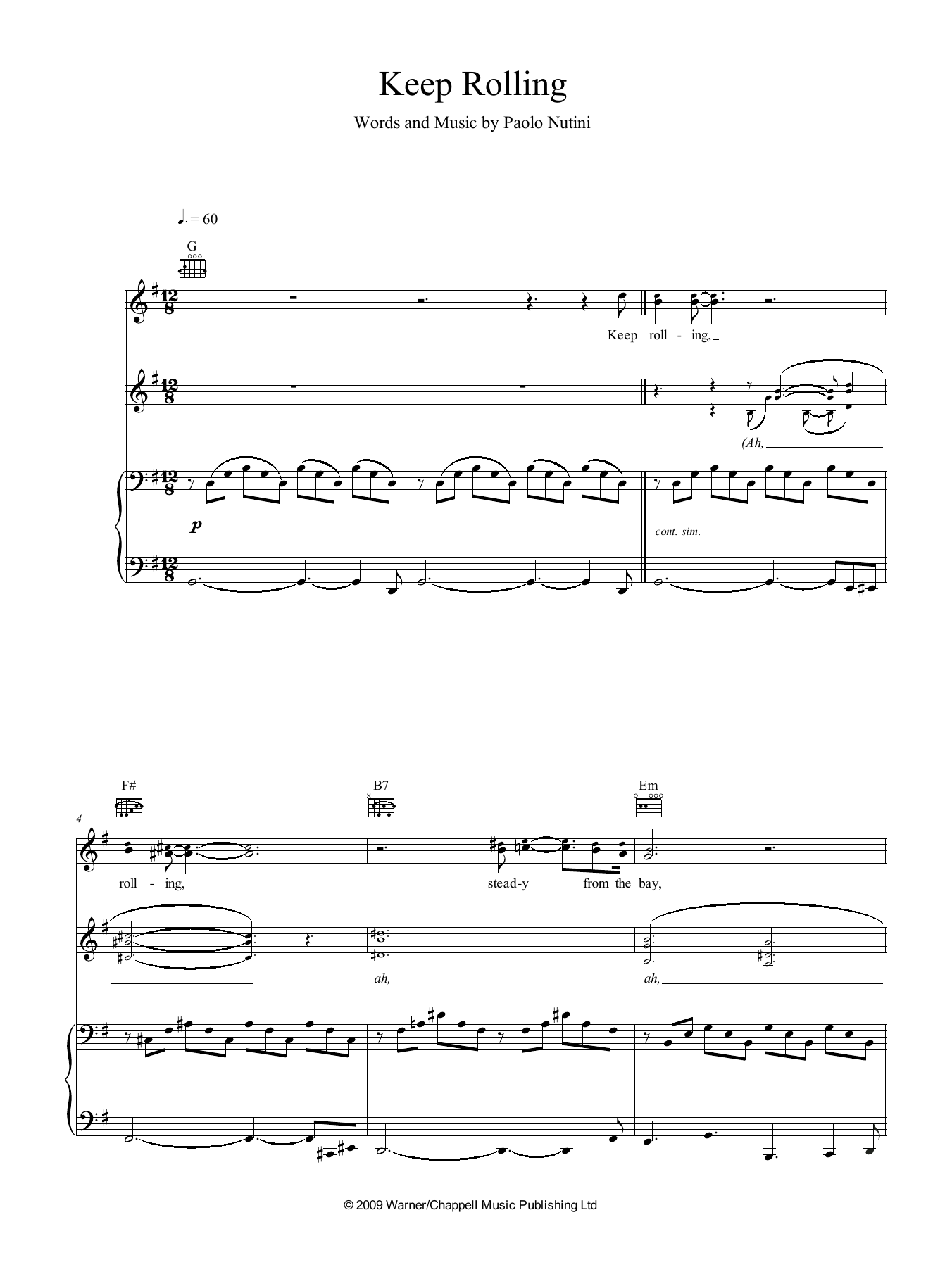Keep Rolling (Piano, Vocal & Guitar (Right-Hand Melody))