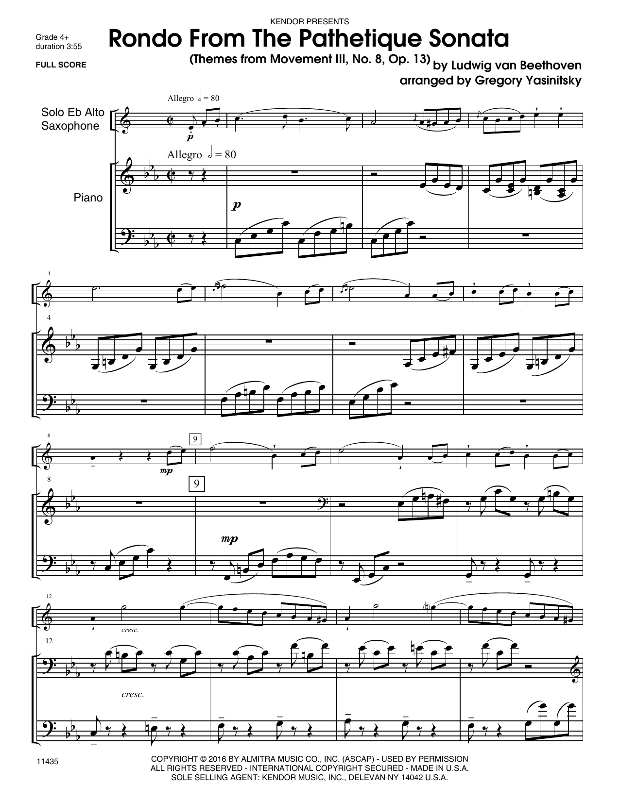 Rondo From The Pathetique Sonata (Themes From Movement III, No. 8, Op. 13) - Piano Sheet Music