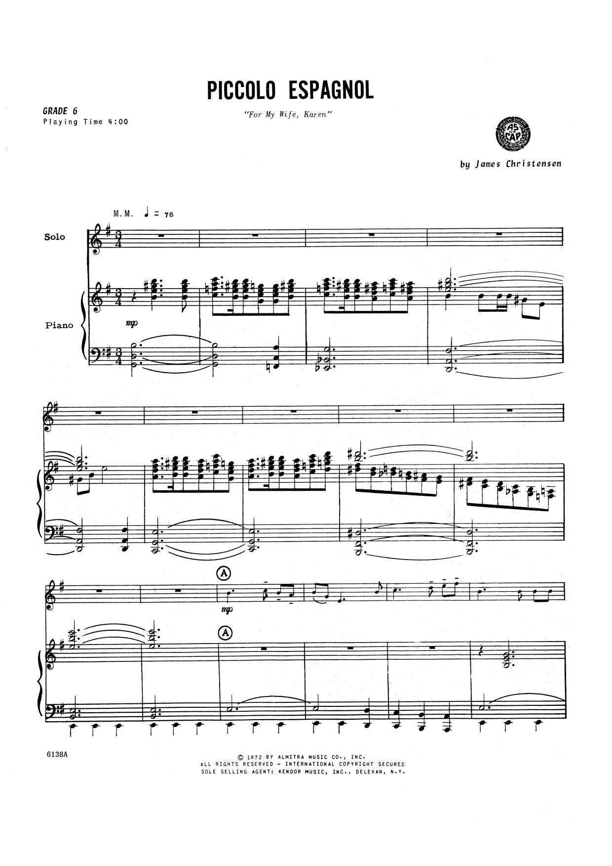 Piccolo Espagnol - Piccolo Sheet Music