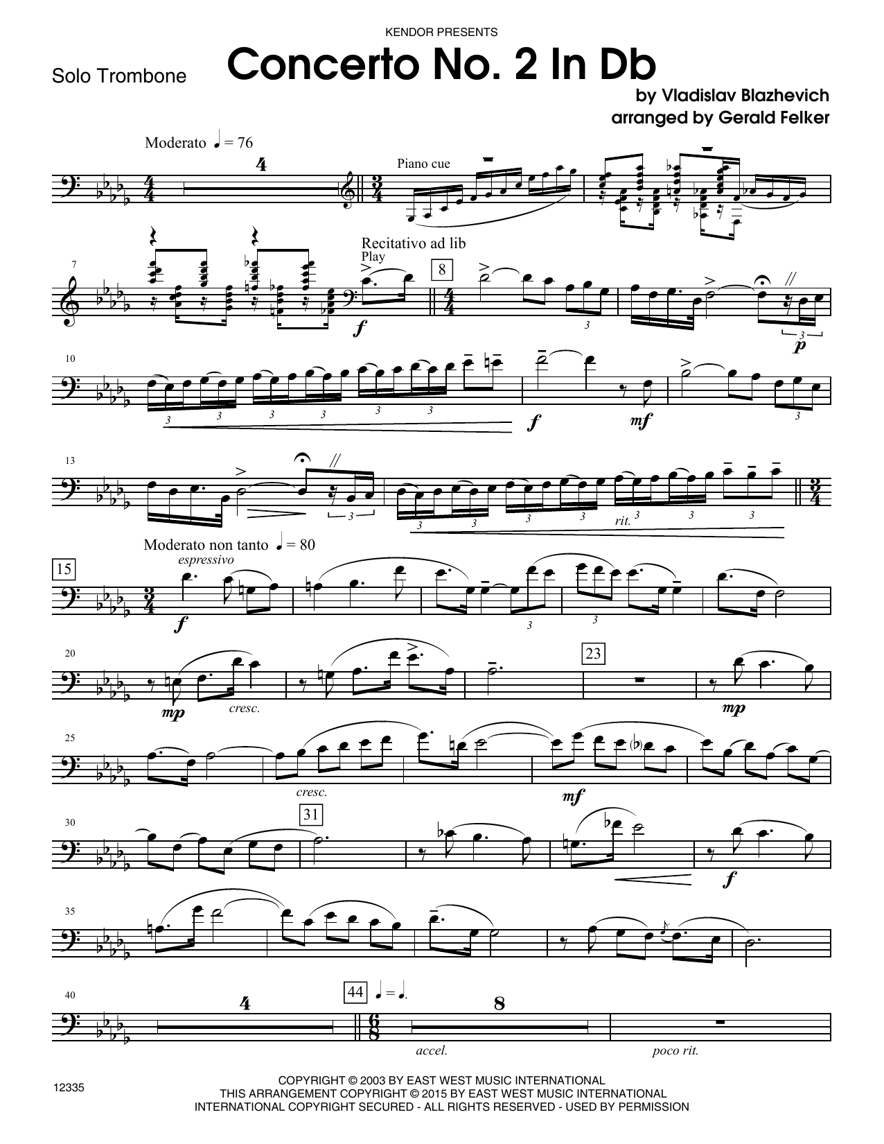 Concerto No. 2 In Db (complete set of parts) sheet music for trombone and piano by Gerald Felker. Score Image Preview.