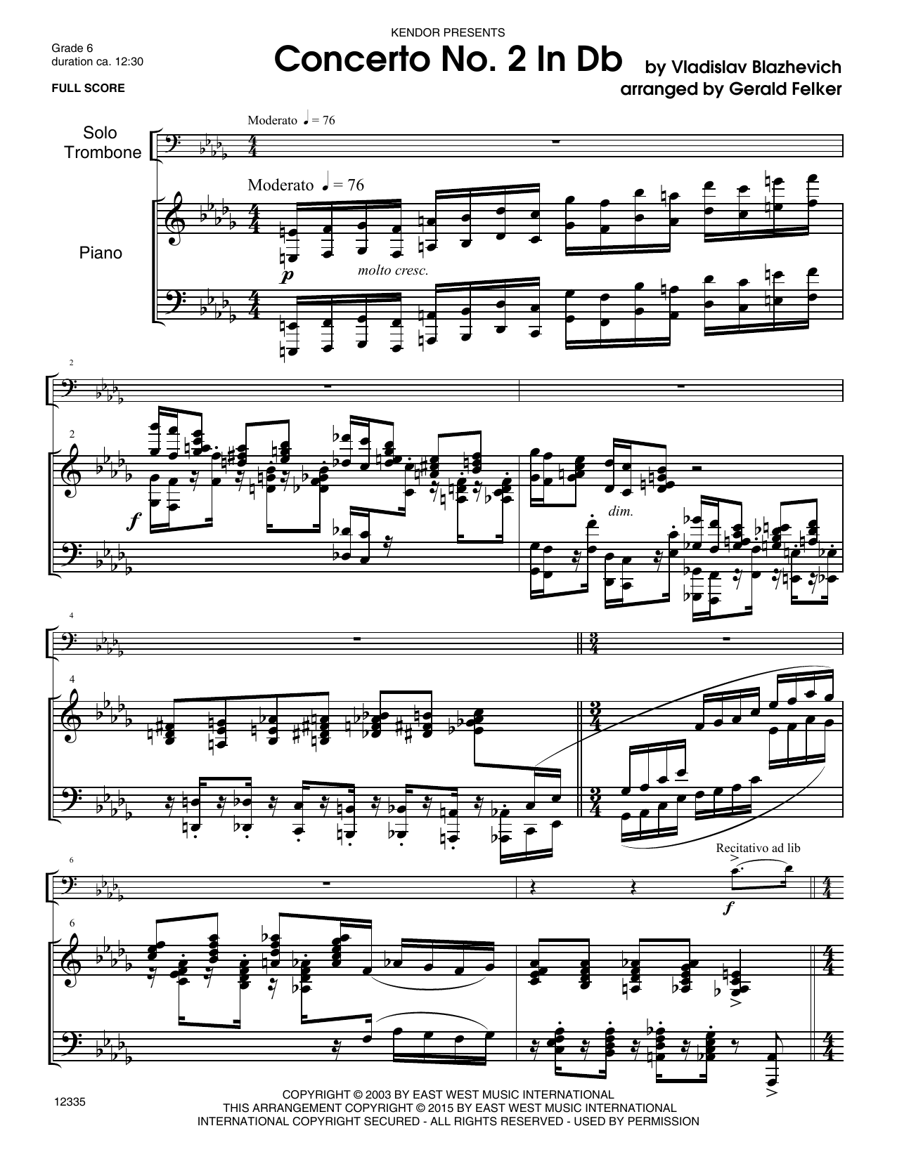 Concerto No. 2 In Db - Piano Sheet Music