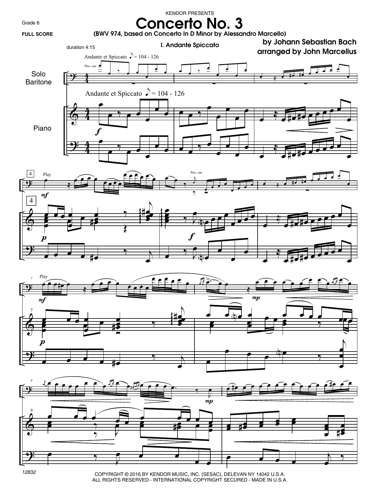 Concerto No. 3 (BWV 974, based on Concerto In D Minor by Alessandro Marcello) - Piano Sheet Music