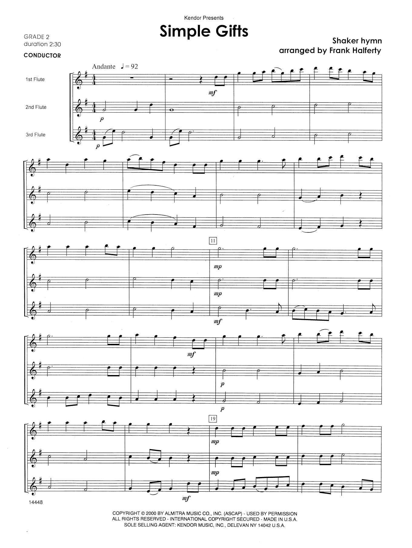 Simple Gifts (COMPLETE) sheet music for flute trio by Frank J. Halferty and Miscellaneous. Score Image Preview.