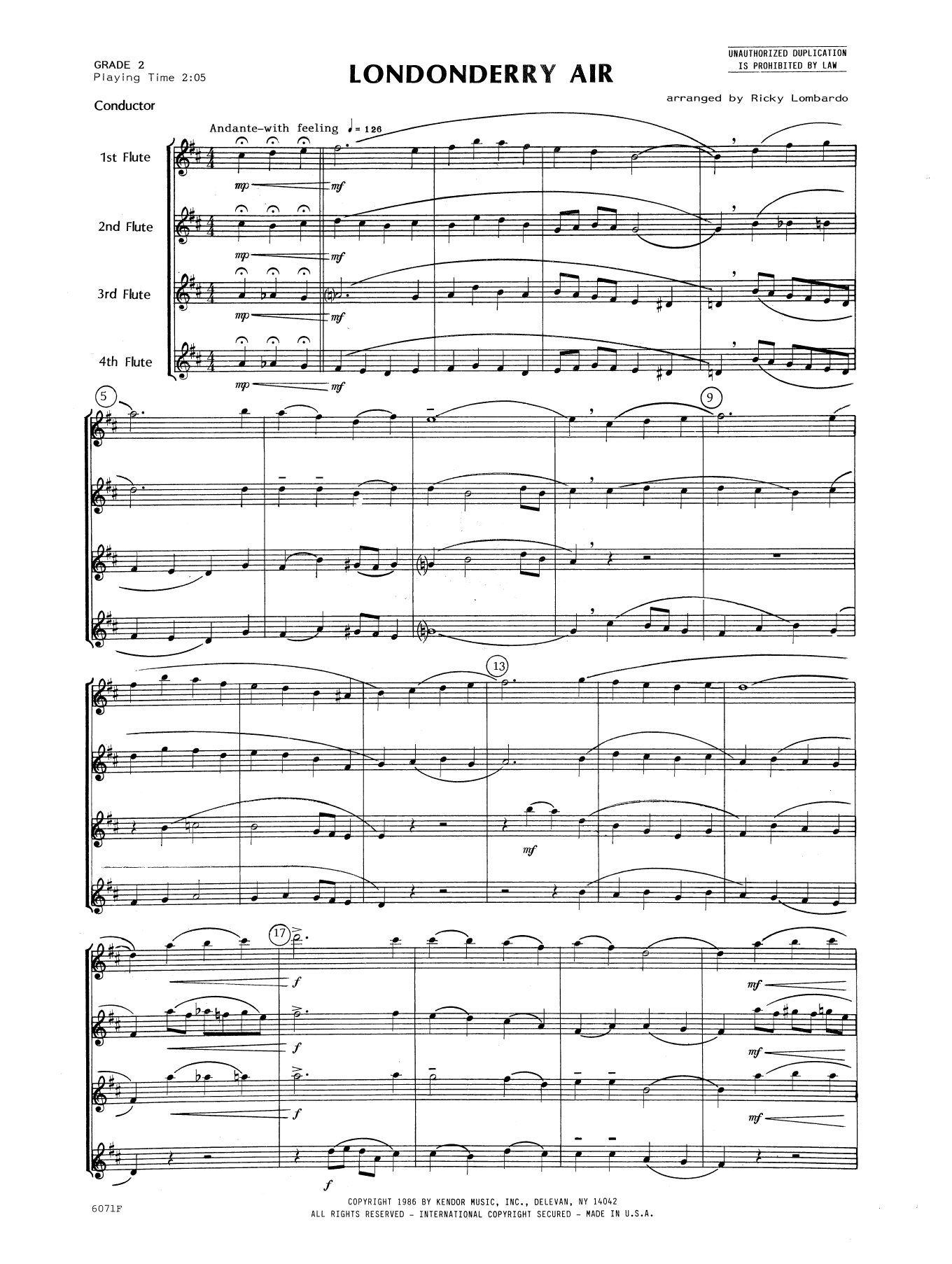 Londonderry Air (COMPLETE) sheet music for flute quartet  and Lombardo. Score Image Preview.