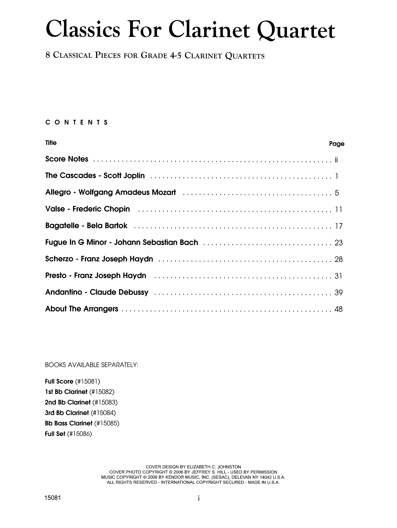 Classics For Clarinet Quartet - Full Score Sheet Music