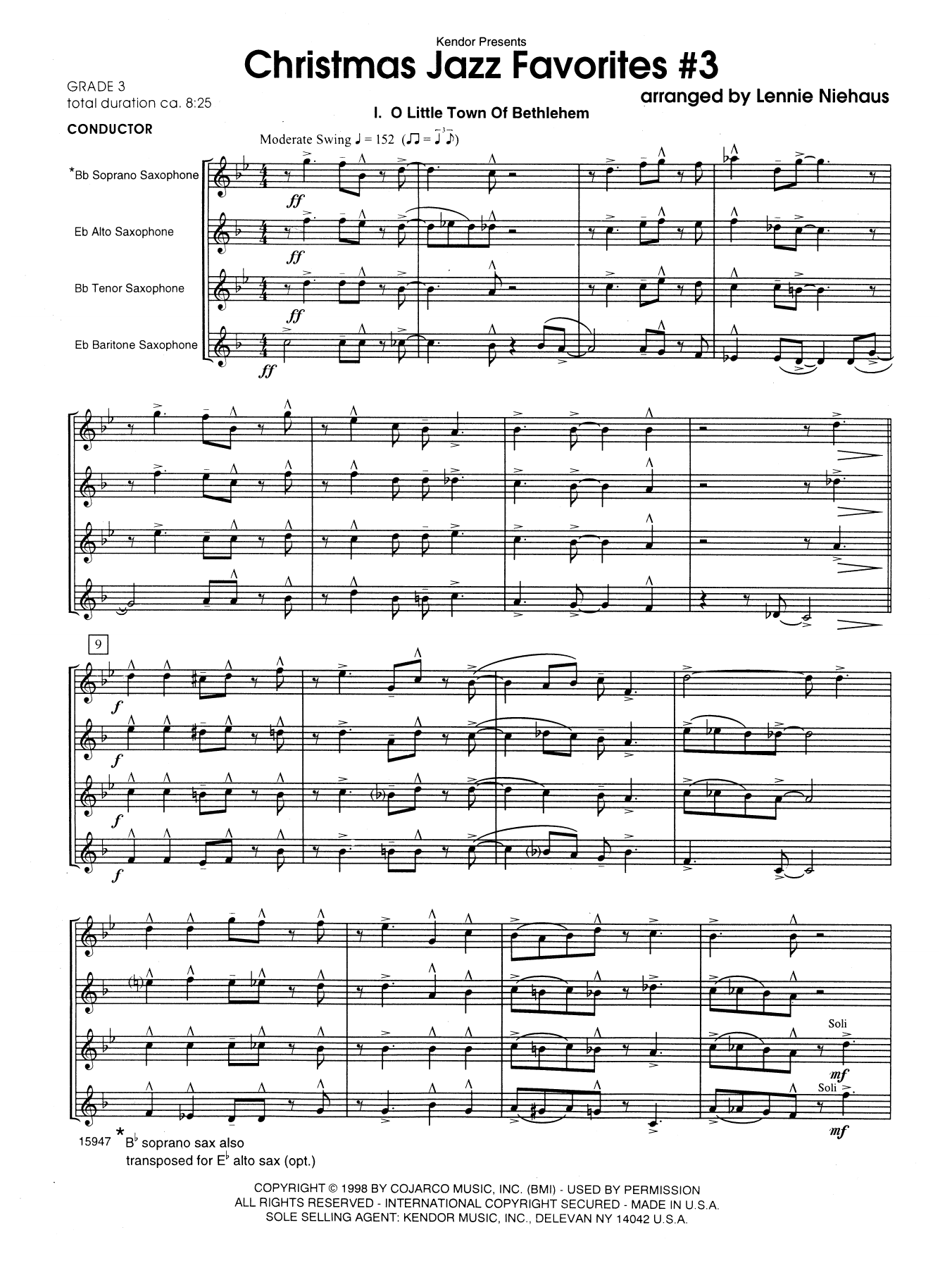 Christmas Jazz Favorites #3 (COMPLETE) sheet music for saxophone quintet by Lennie Niehaus. Score Image Preview.