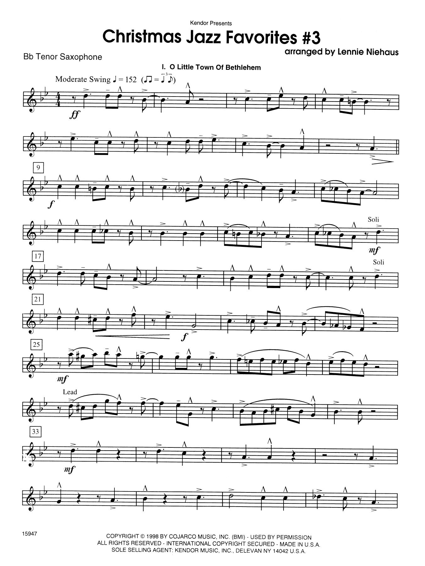 Christmas Jazz Favorites #3 - Bb Tenor Saxophone Sheet Music