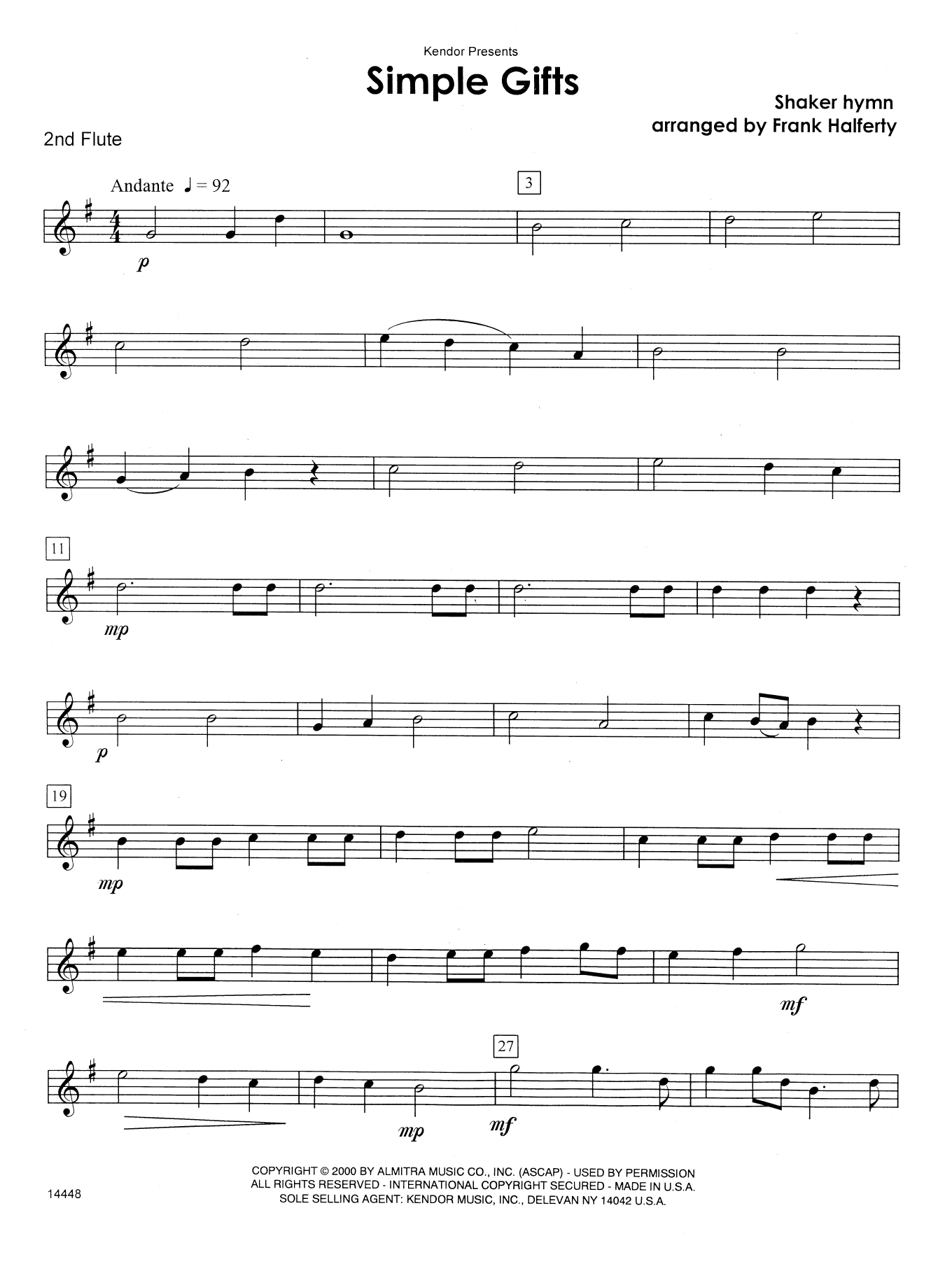 Simple Gifts - 2nd Flute Sheet Music