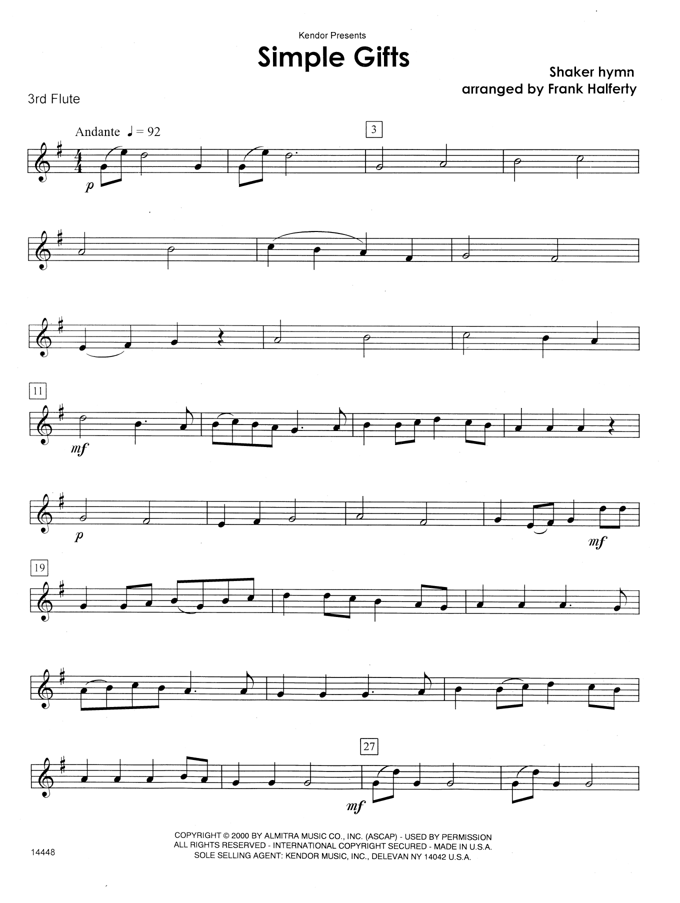 Simple Gifts - 3rd C Flute Sheet Music