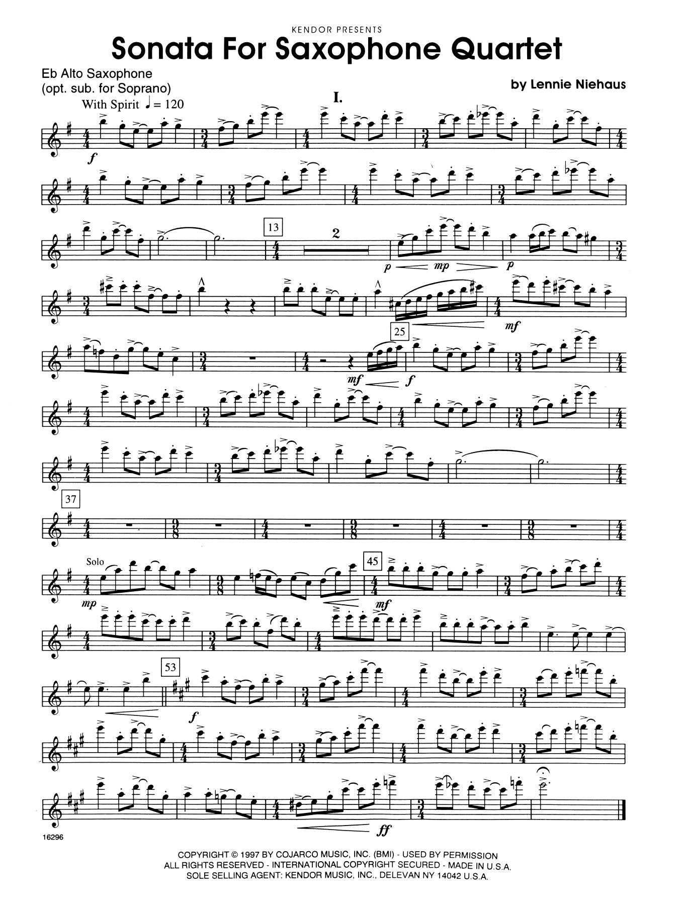 Sonata For Saxophone Quartet - 1st Eb Alto Saxophone Sheet Music