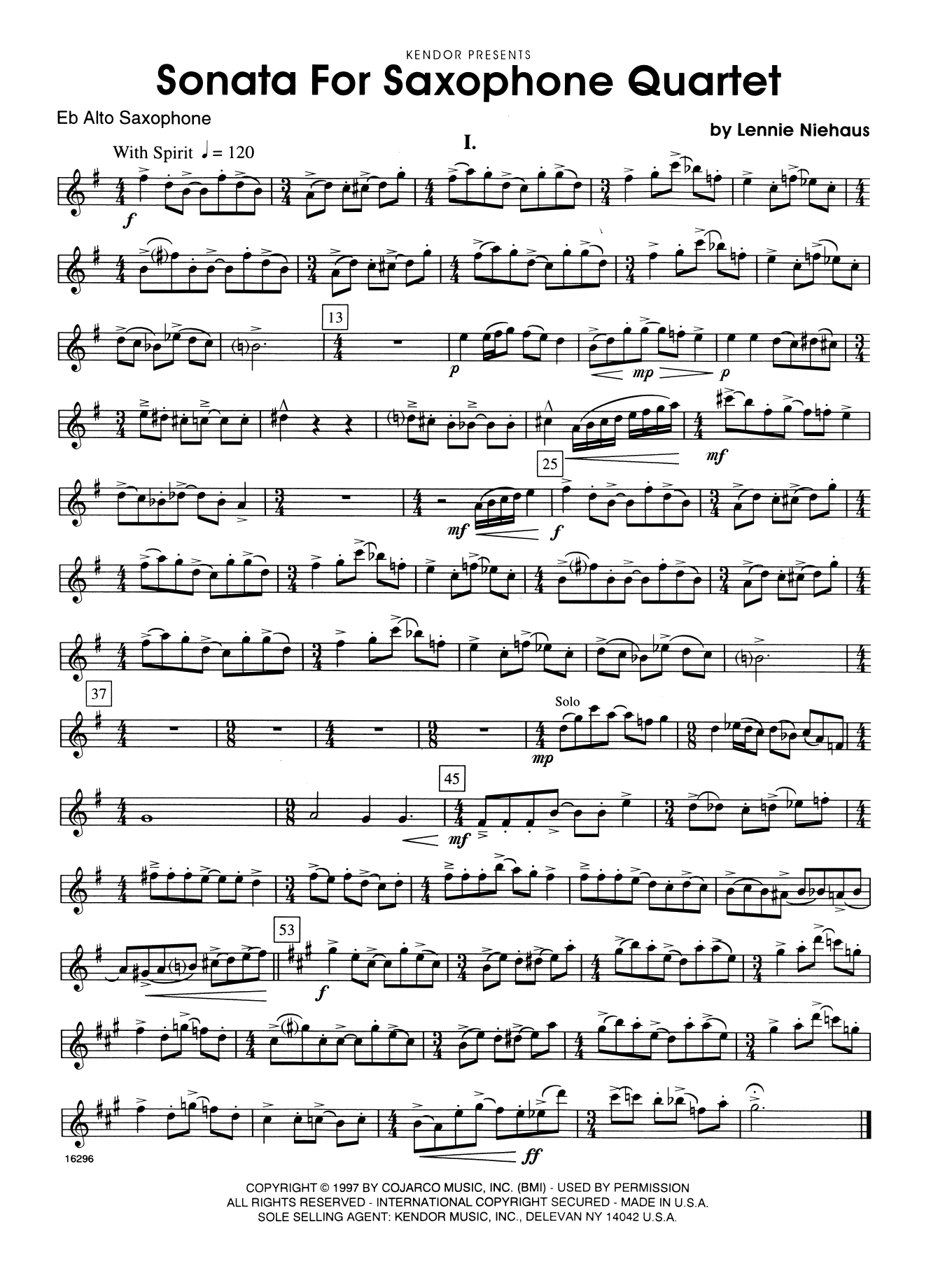 Sonata For Saxophone Quartet - 2nd Eb Alto Saxophone Sheet Music