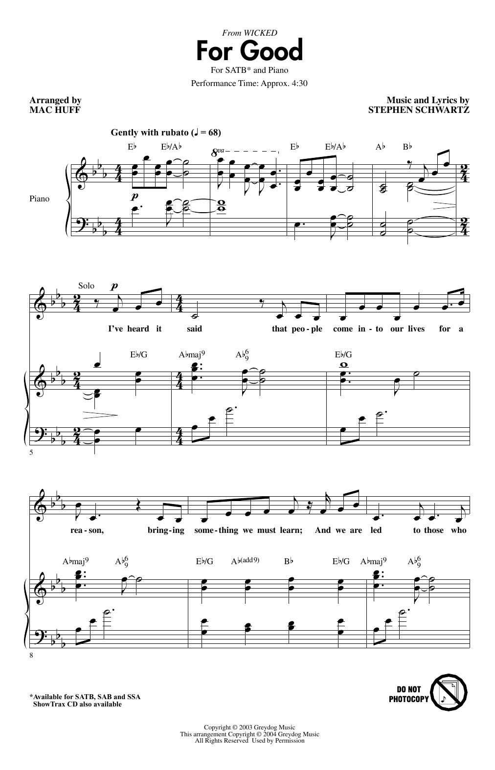 For Good (from Wicked) (arr. Mac Huff) (SATB Choir)