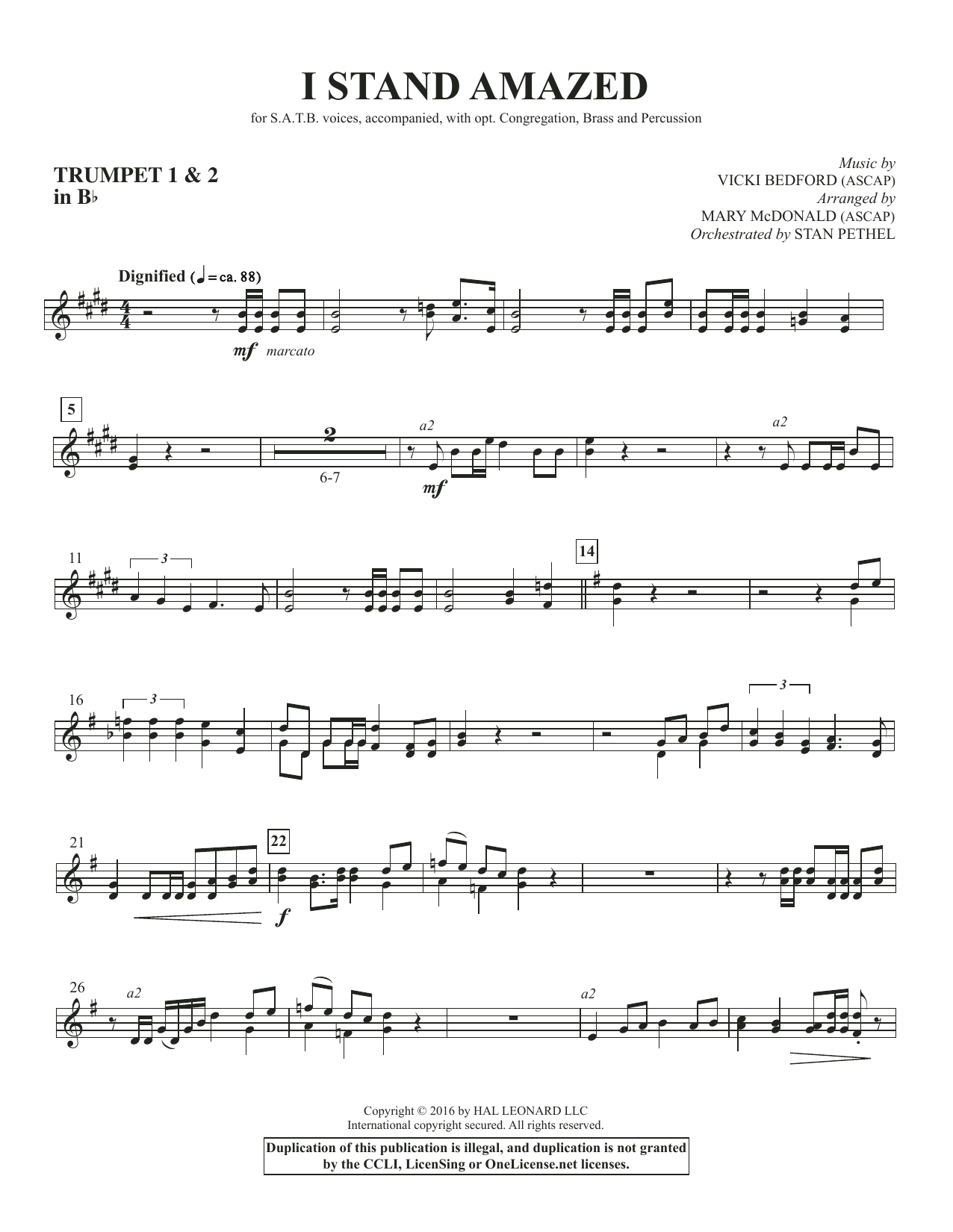 I Stand Amazed - Bb Trumpet 1 & 2 Sheet Music