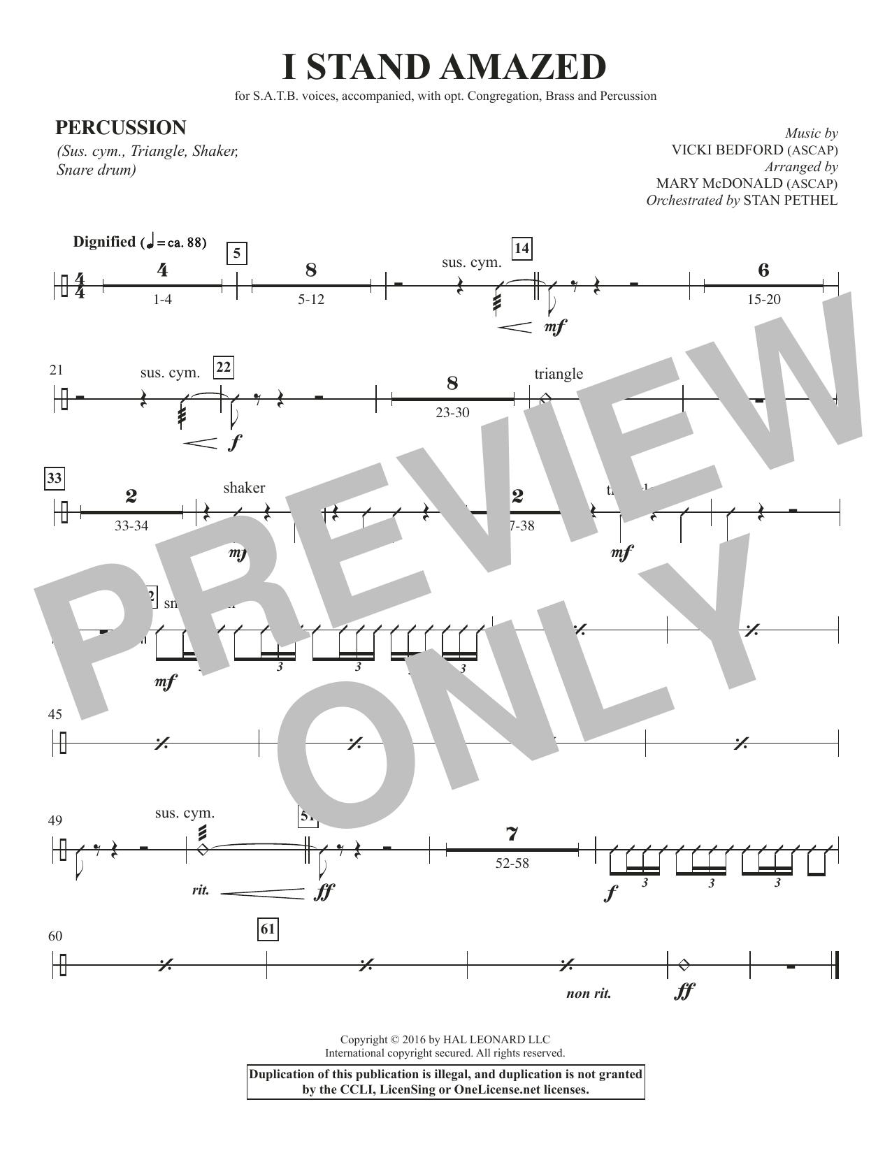 I Stand Amazed - Percussion Sheet Music