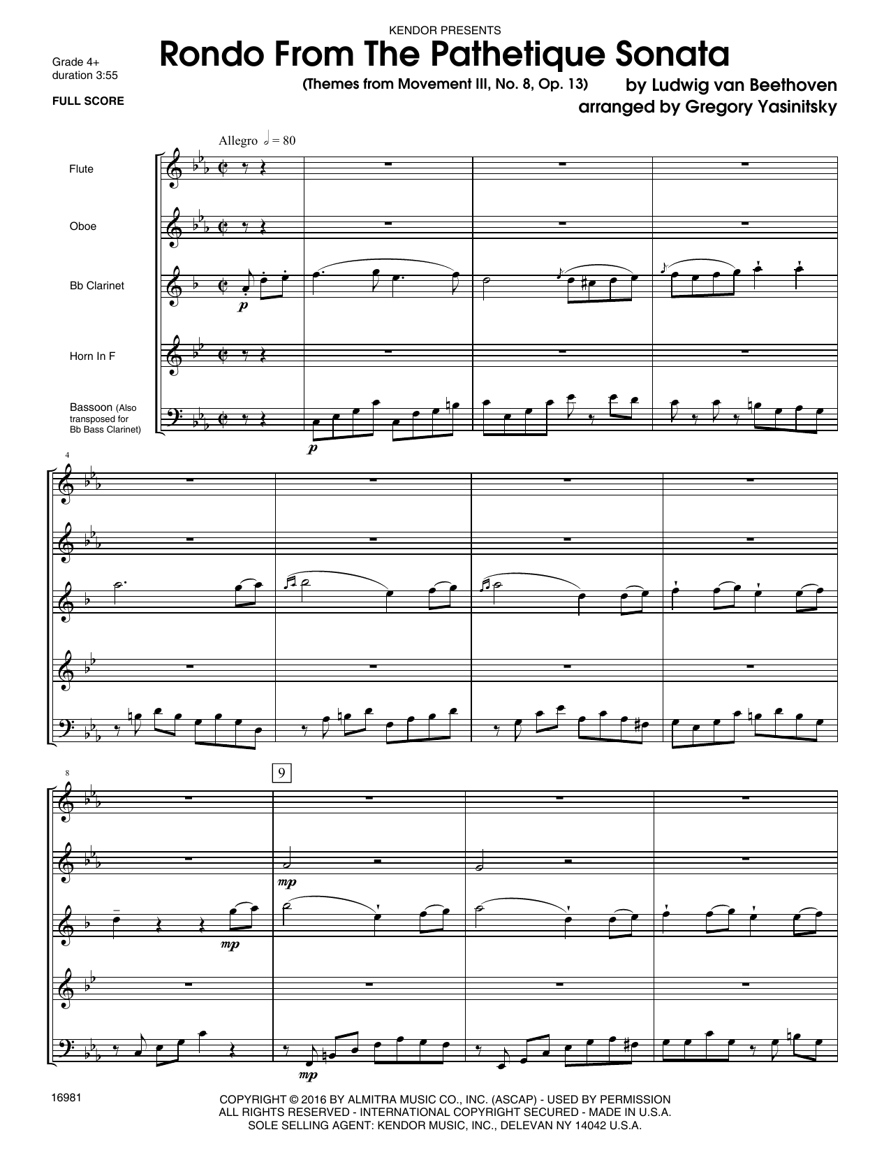 Rondo From The Pathetique Sonata (Themes From Movement III, No. 8, Op. 13) (COMPLETE) sheet music for wind quintet by Gregory Yasinitsky and Ludwig van Beethoven. Score Image Preview.