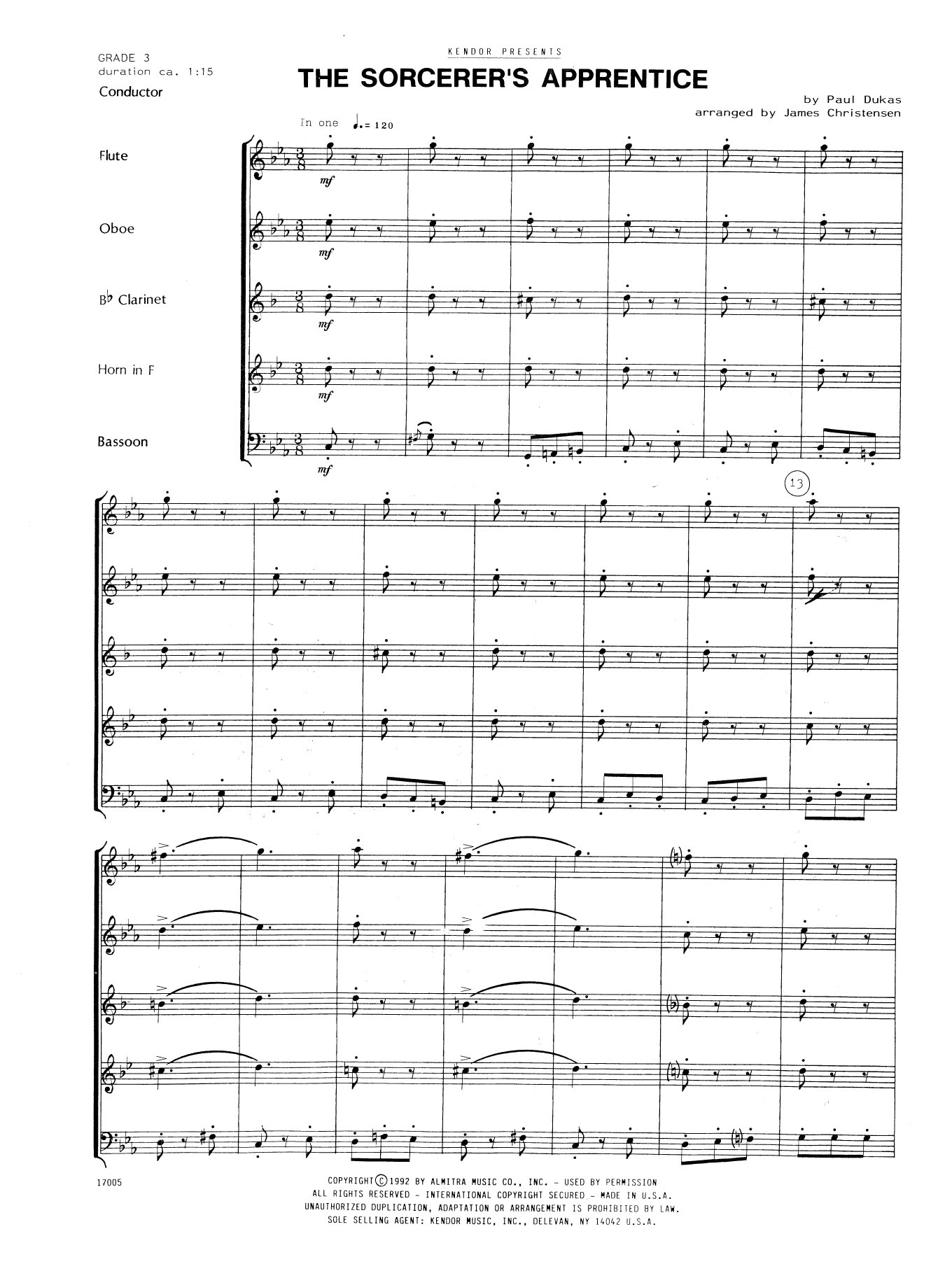 The Sorcerer's Apprentice (COMPLETE) sheet music for wind quintet by James Christensen and Dukas. Score Image Preview.