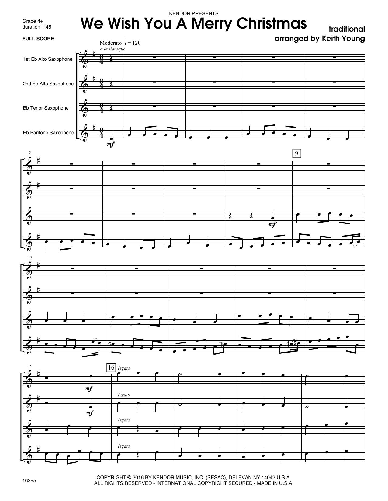 We Wish You A Merry Christmas - Full Score Sheet Music