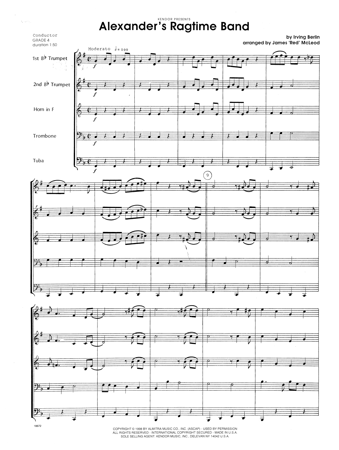 Alexander's Ragtime Band - Full Score Sheet Music