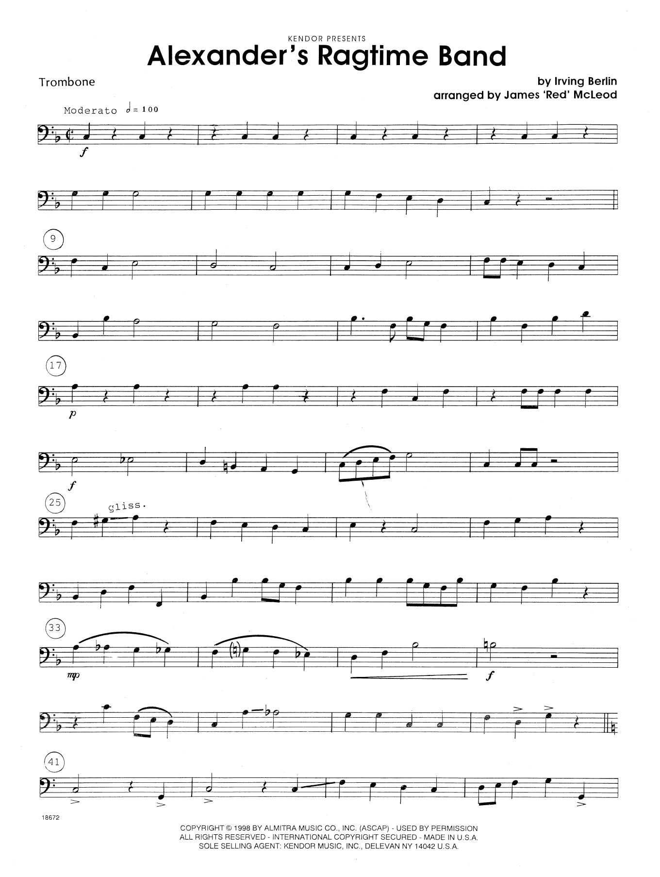 Alexander's Ragtime Band - Trombone Sheet Music