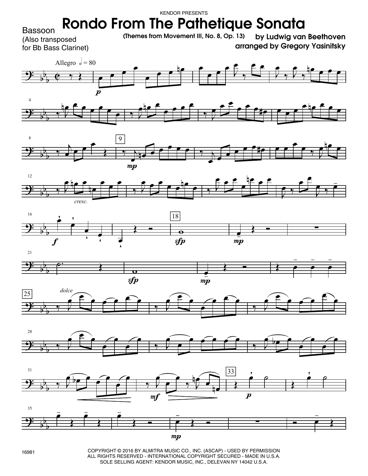 Rondo From The Pathetique Sonata (Themes From Movement III, No. 8, Op. 13) - Bassoon Sheet Music