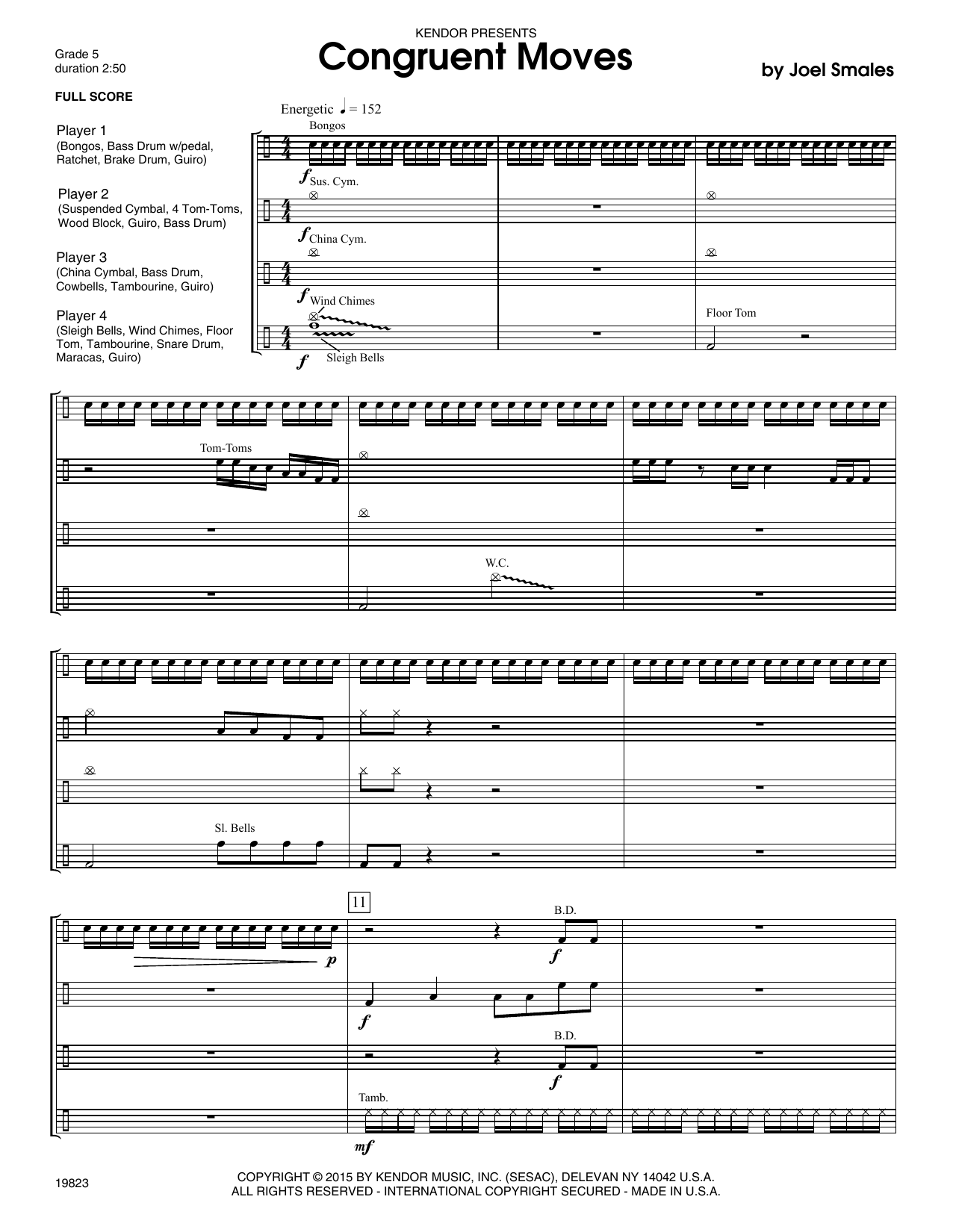 Congruent Moves (COMPLETE) sheet music for percussions by Joel Smales. Score Image Preview.
