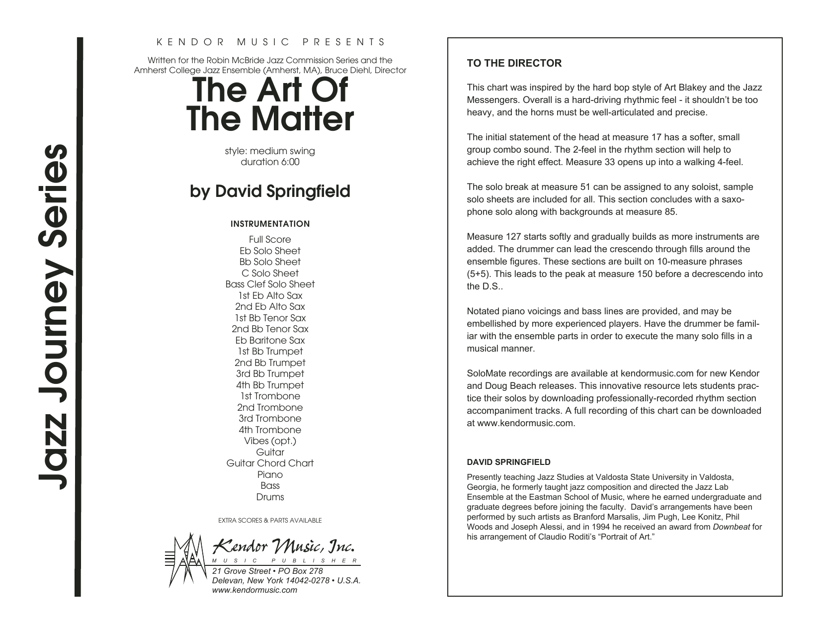 The Art Of The Matter (COMPLETE) sheet music for jazz band by David Springfield. Score Image Preview.