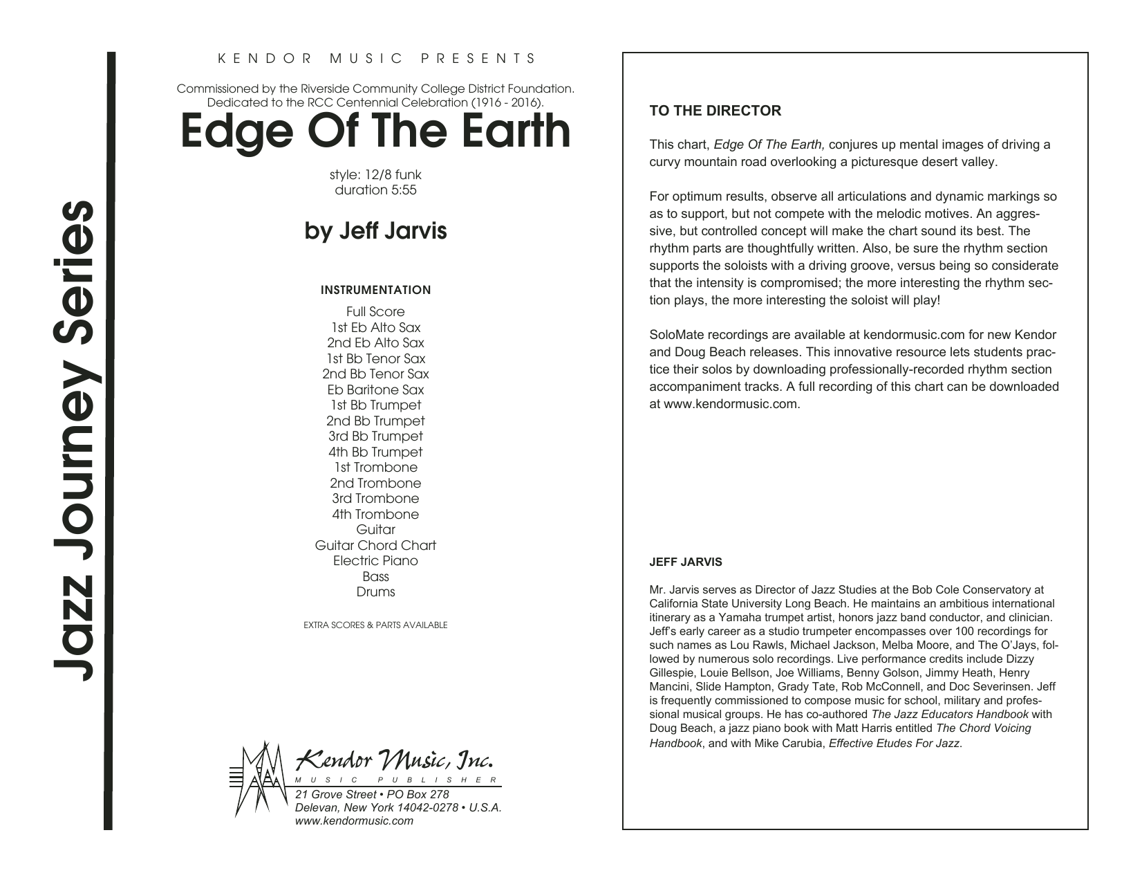 Edge Of The Earth (COMPLETE) sheet music for jazz band by Jeff Jarvis. Score Image Preview.