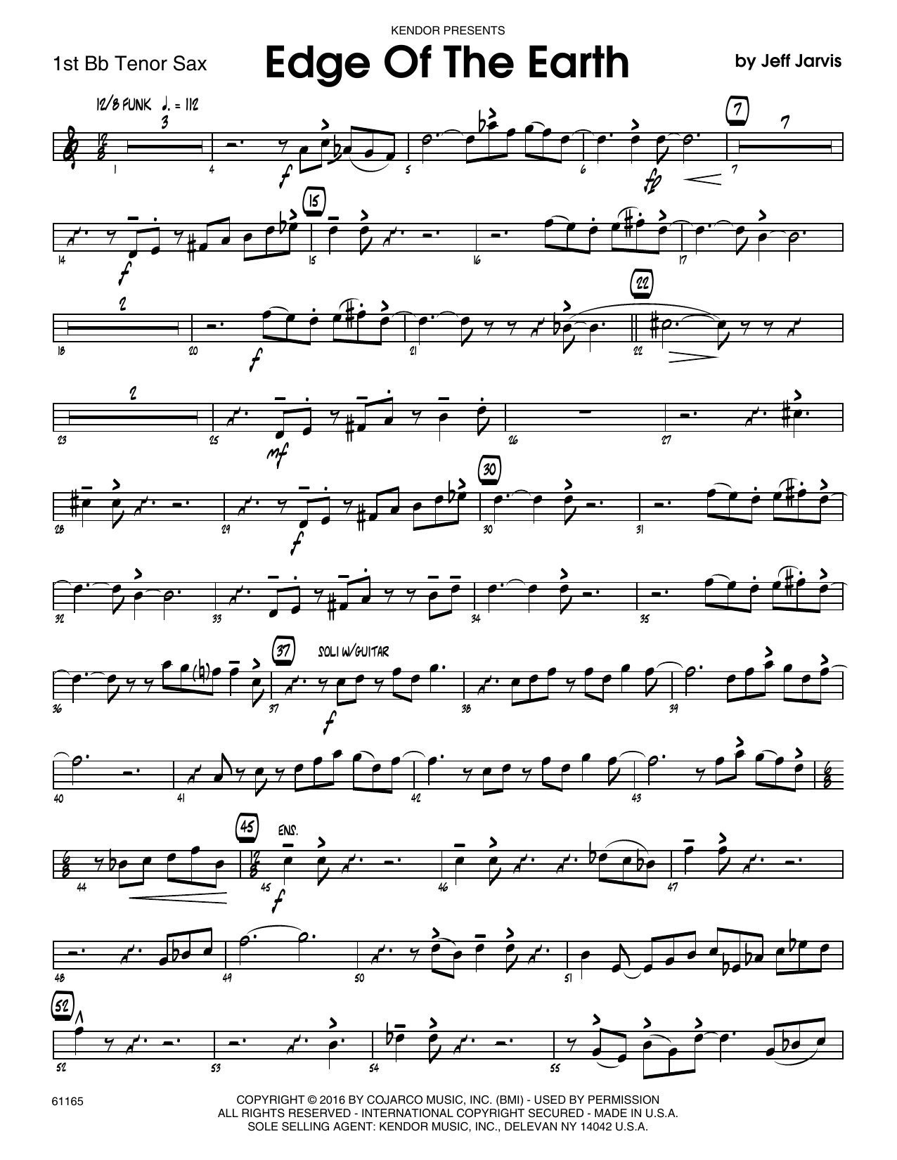 Edge Of The Earth - 1st Tenor Saxophone Sheet Music