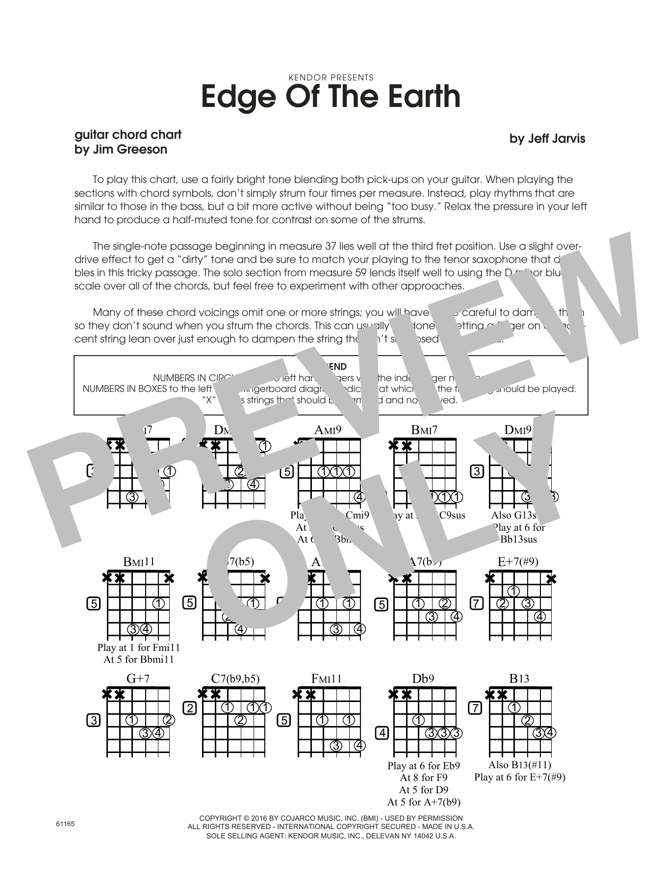 Edge Of The Earth - Guitar Chord Chart Sheet Music
