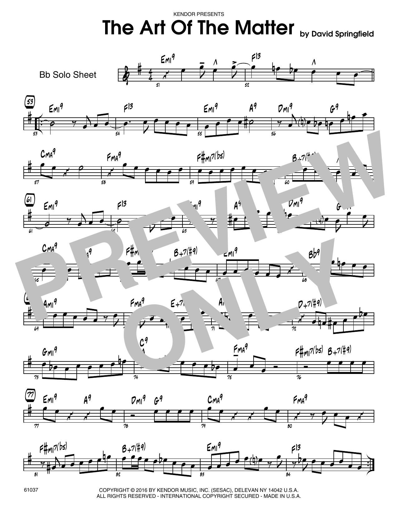The Art Of The Matter - Solo Sheet - Tenor Sax Sheet Music