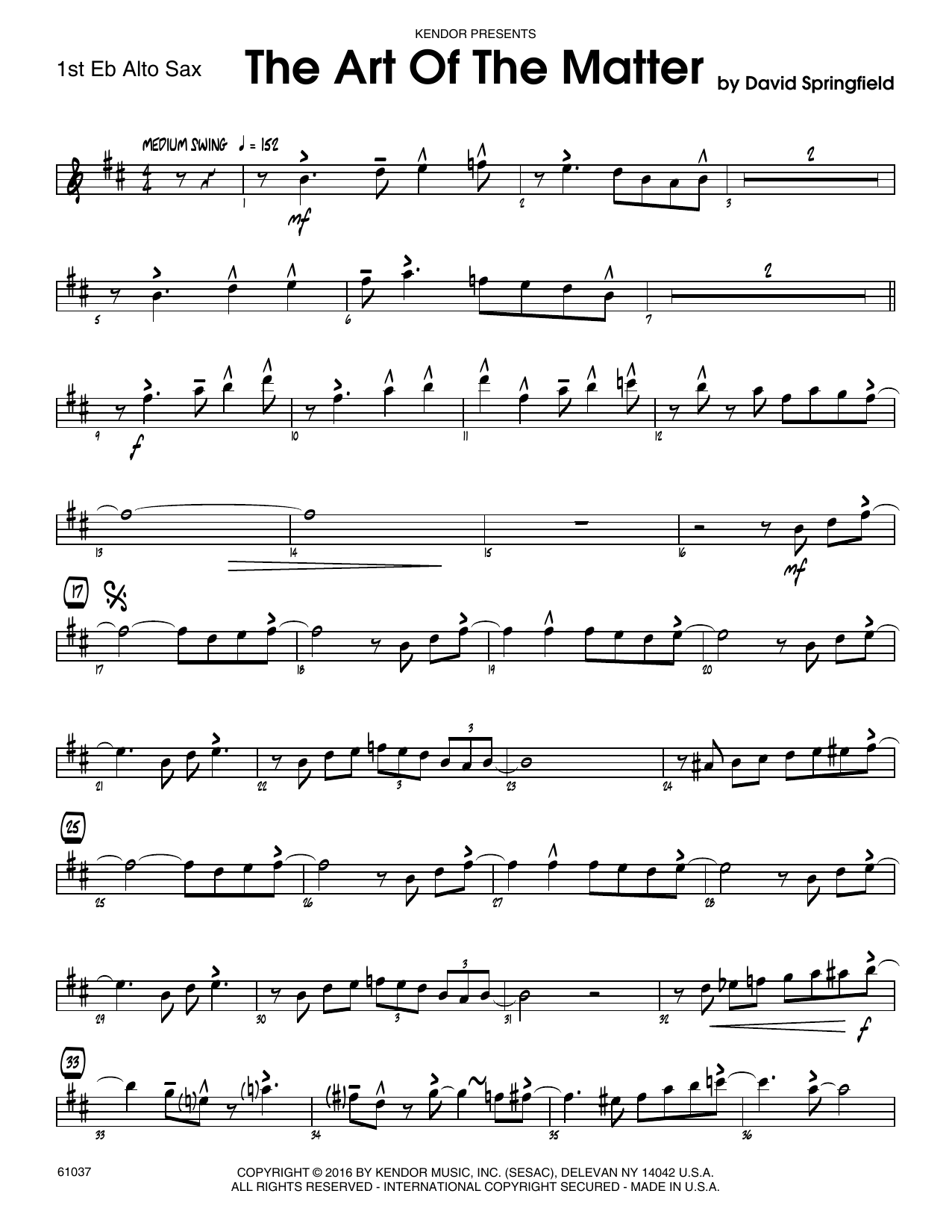 The Art Of The Matter - 1st Eb Alto Saxophone Sheet Music