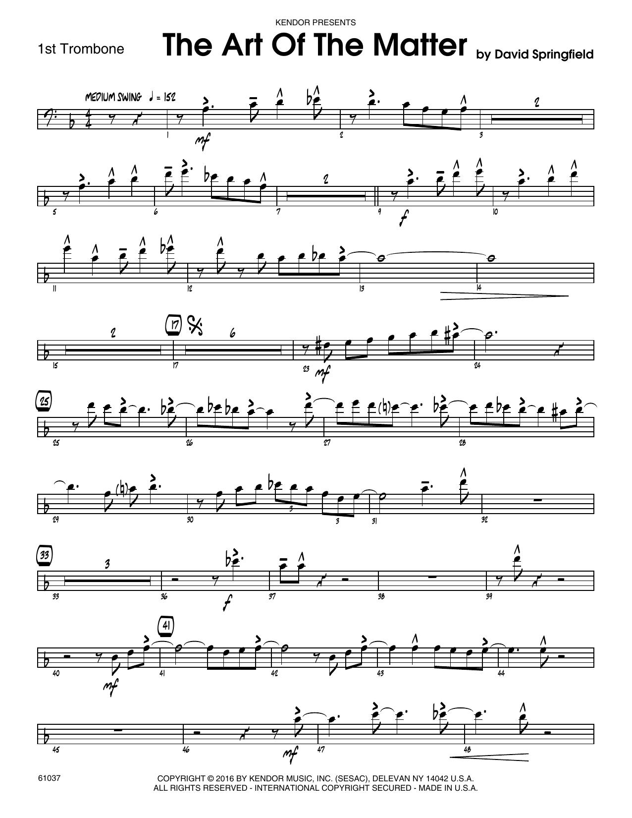 The Art Of The Matter - 1st Trombone Sheet Music