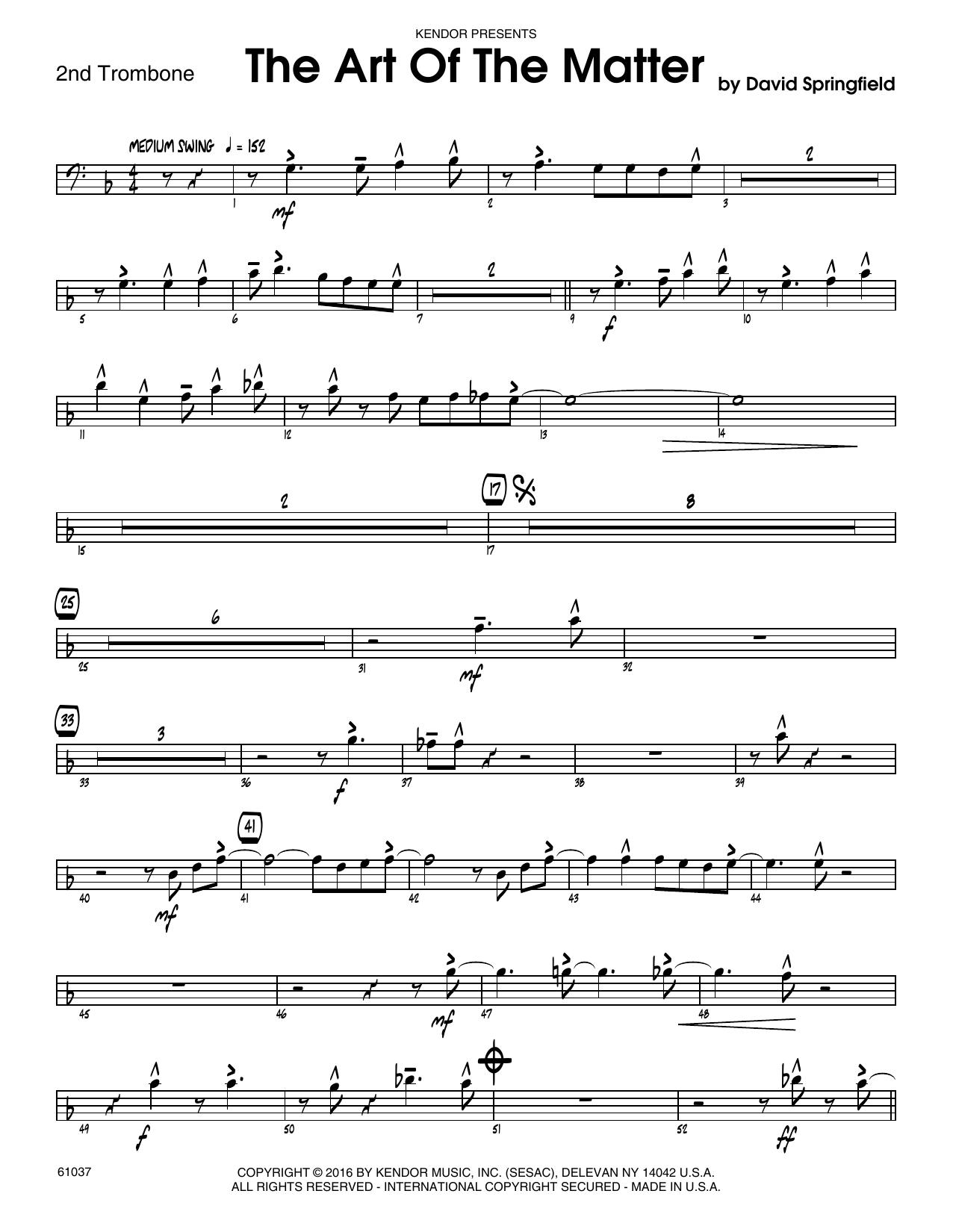 The Art Of The Matter - 2nd Trombone Sheet Music