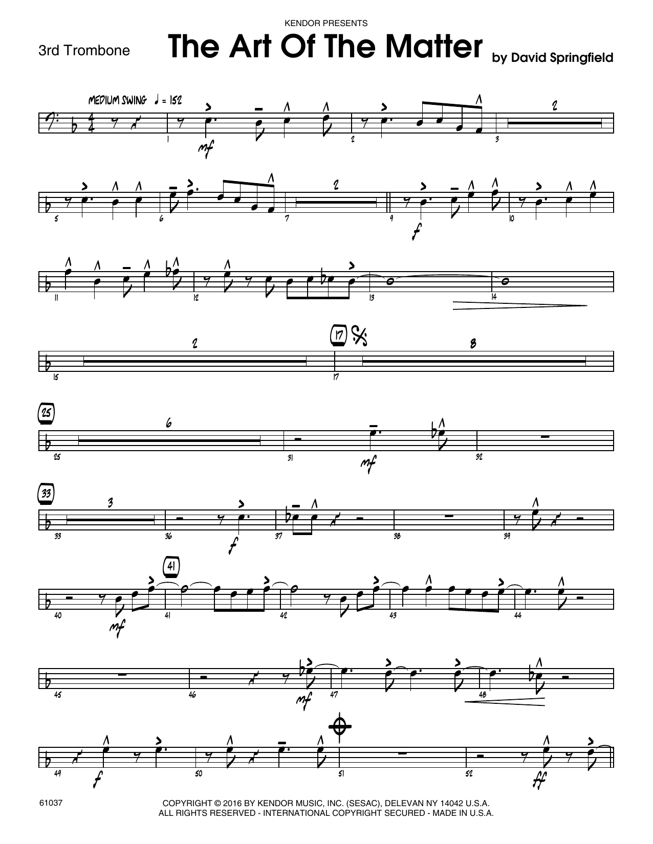 The Art Of The Matter - 3rd Trombone Sheet Music