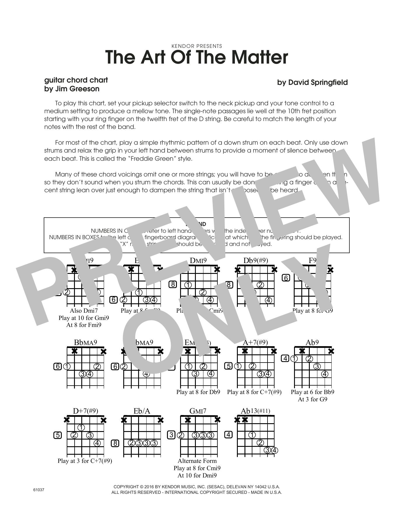 The Art Of The Matter - Guitar Chord Chart Sheet Music