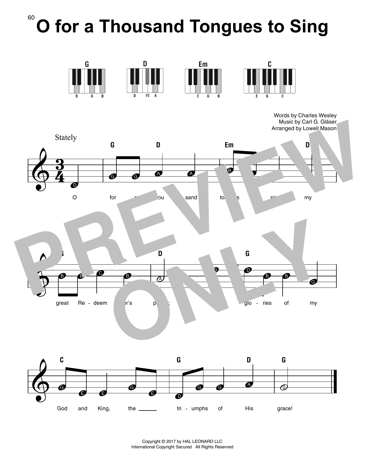 O For A Thousand Tongues To Sing (Super Easy Piano)