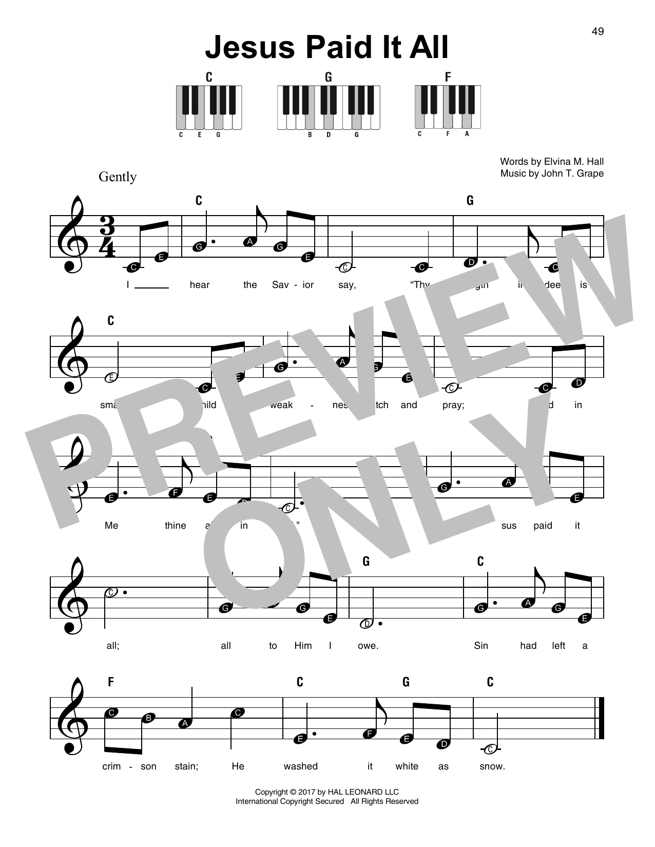 Jesus Paid It All (Super Easy Piano)