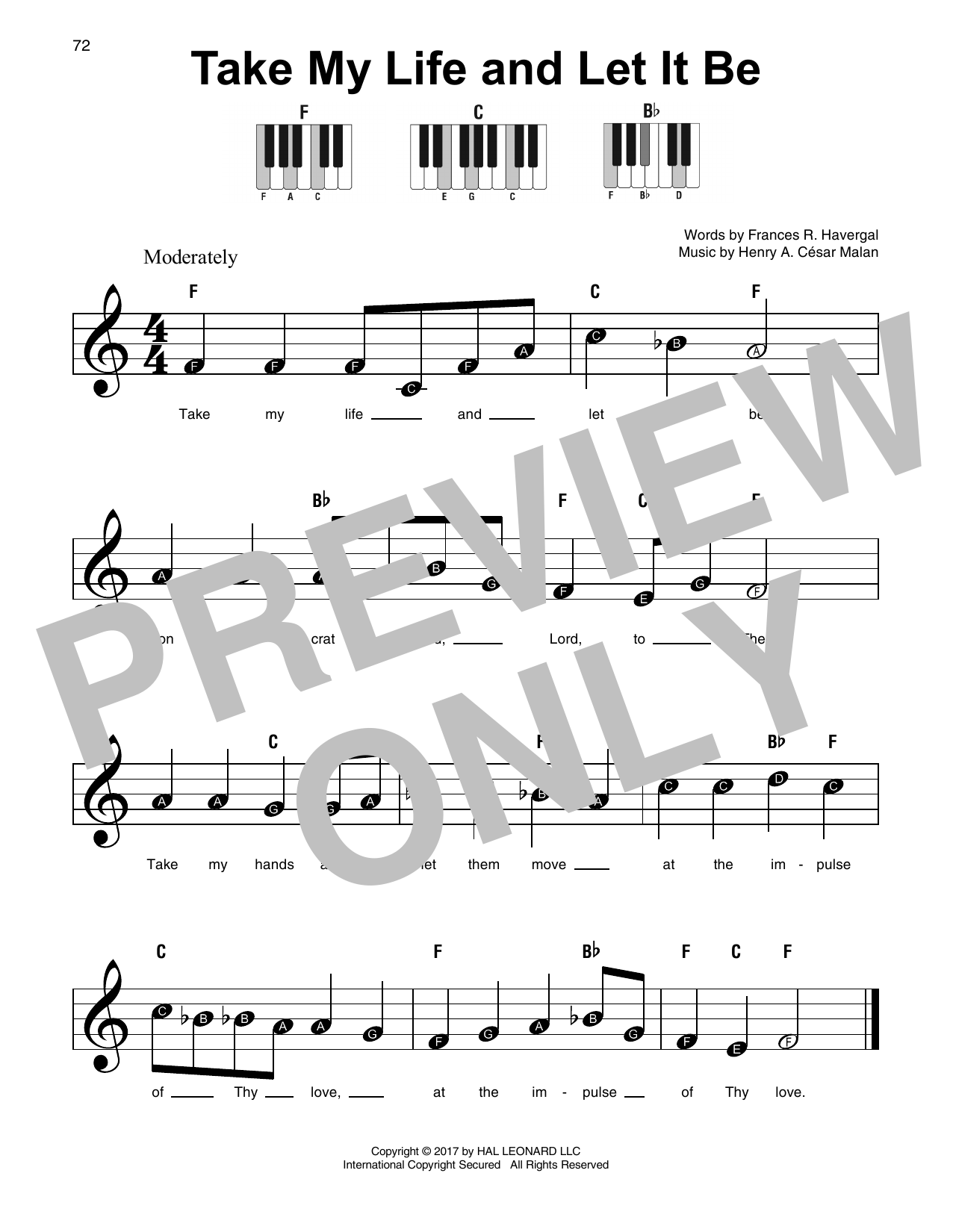 Take My Life And Let It Be piano sheet music by Henry A  Cesar Malan -  Super Easy Piano