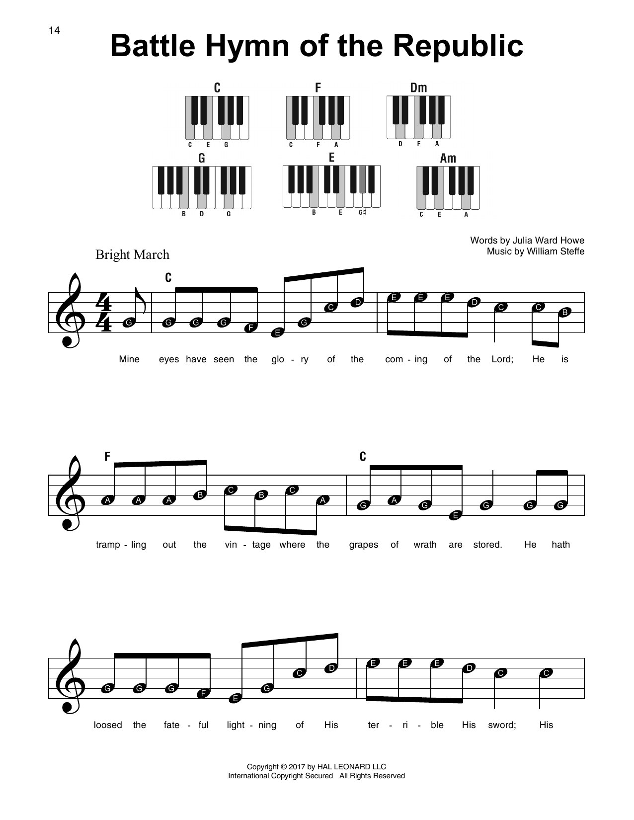 Battle Hymn Of The Republic William Steffe Super Easy Piano